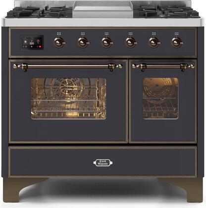 """Ilve 40"""" Majestic II Series Freestanding Dual Fuel Double Oven Range with 6 Sealed Burners,  Triple Glass Cool Door, Convection Oven, TFT Oven Control Display, Child Lock and Griddle in Matte Graphite"""