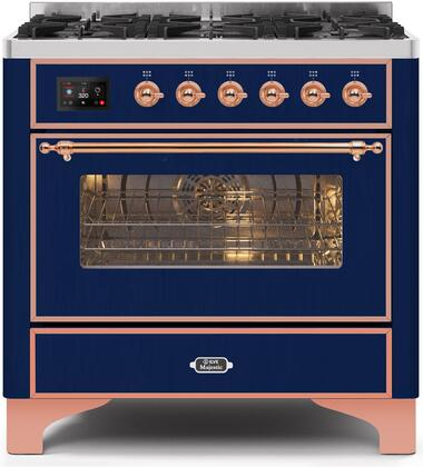 """Ilve 36"""" Majestic II Series Freestanding Dual Fuel Single Oven Range with 6 Sealed Burners,  Triple Glass Cool Door, Convection Oven, TFT Oven Control Display and Child Lock in Midnight Blue"""