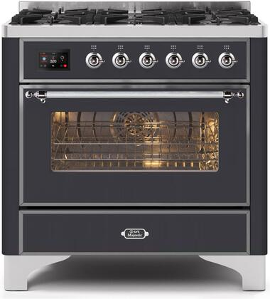 """Ilve 36"""" Majestic II Series Freestanding Dual Fuel Single Oven Range with 6 Sealed Burners,  Triple Glass Cool Door, Convection Oven, TFT Oven Control Display and Child Lock in Matte Graphite"""