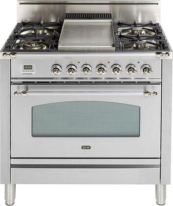 """Ilve 36"""" Nostalgie Series Freestanding Single Oven Gas Range with 5 Sealed Burners and Griddle in Stainless Steel"""