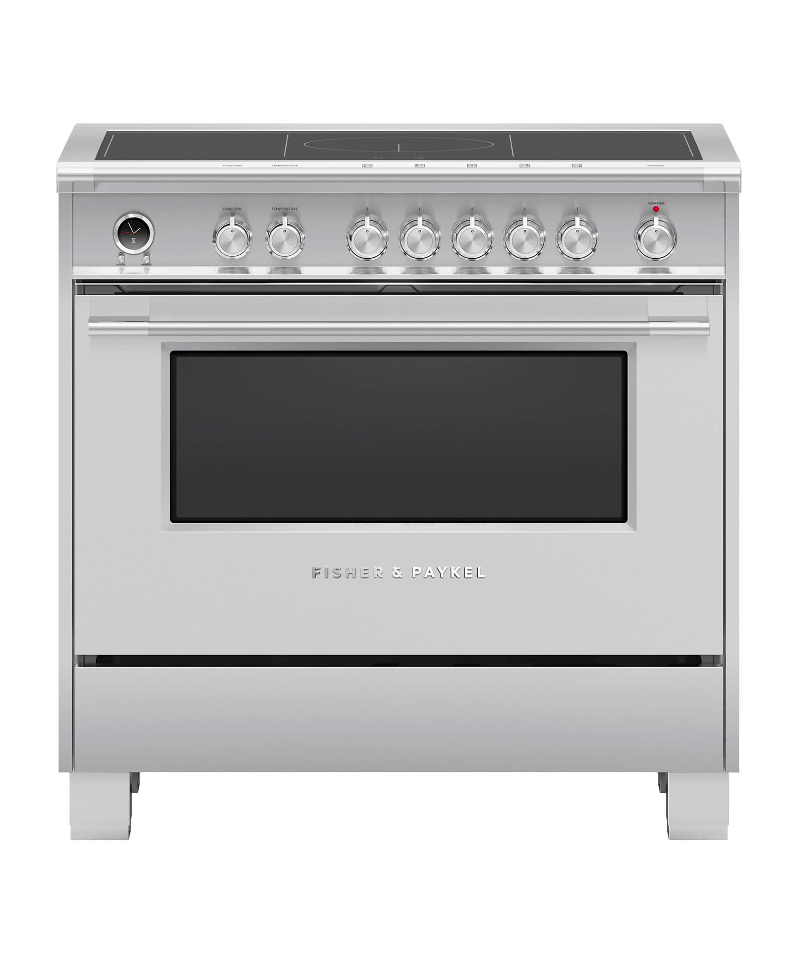 "Fisher and Paykel Induction Range, 36"", 5 Zones, Self-cleaning"