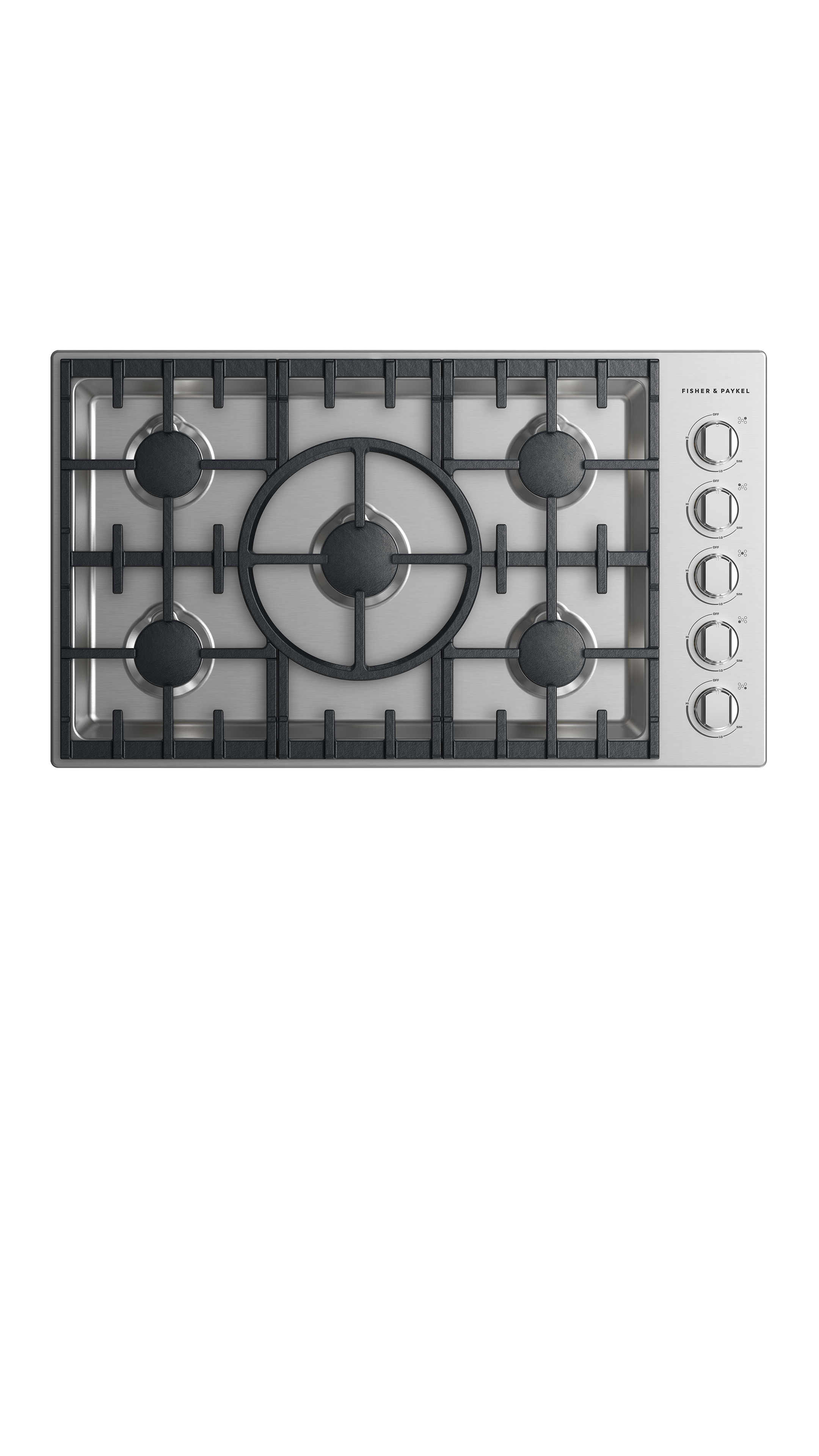 """Model: CDV2-365H-L_N   Fisher and Paykel Gas Cooktop 36"""", 5 burner"""