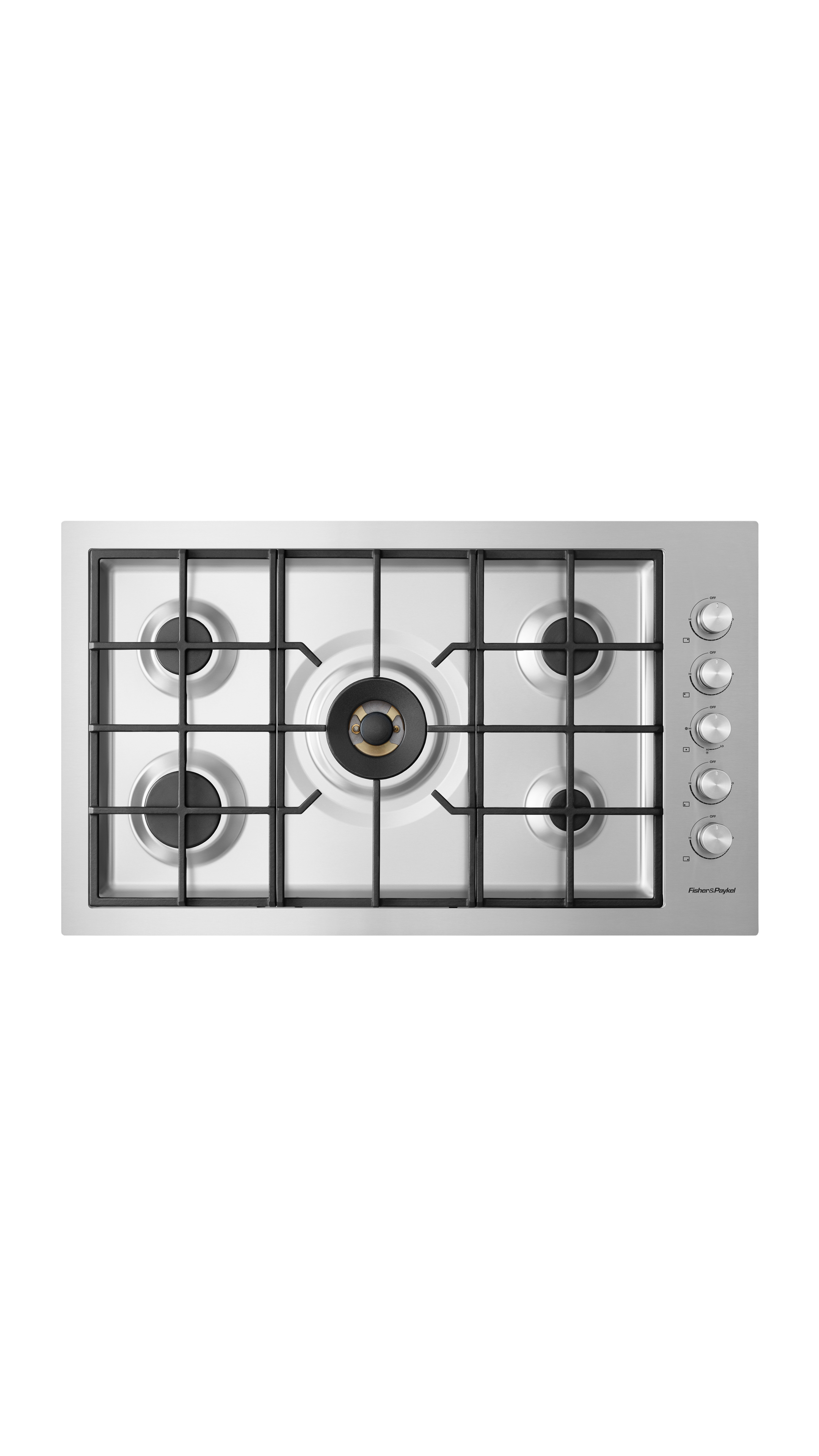 "Model: CG365DNGRX2_N | Fisher and Paykel Gas on Steel Cooktop 36"" 5 Burner, Flush Fit"