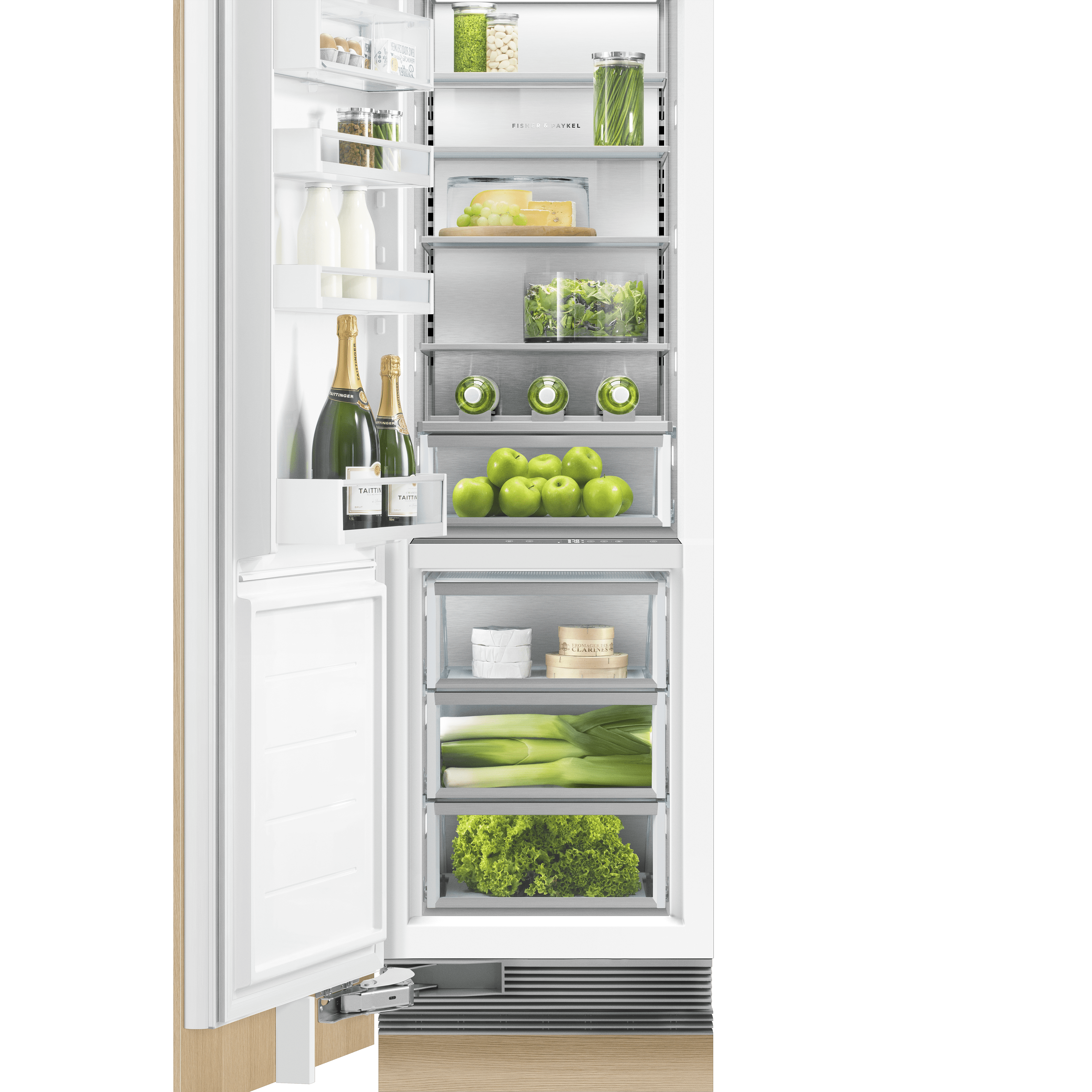 "Model: RS2484SLK1 | Fisher and Paykel Integrated Column Refrigerator 24"", Stainless Steel Interior"