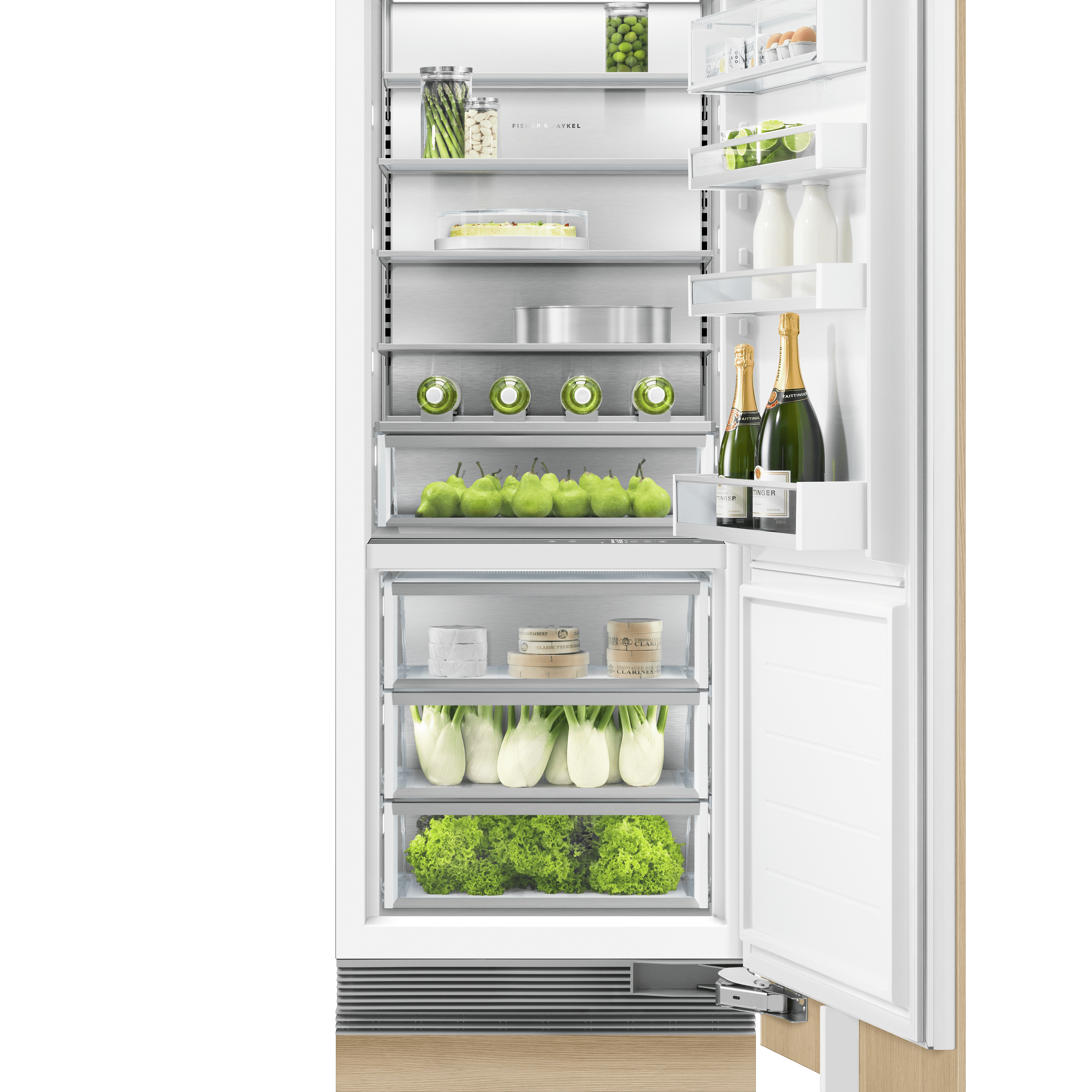 "Model: RS3084SRK1 | Fisher and Paykel Integrated Column Refrigerator 30"", Stainless Steel Interior"