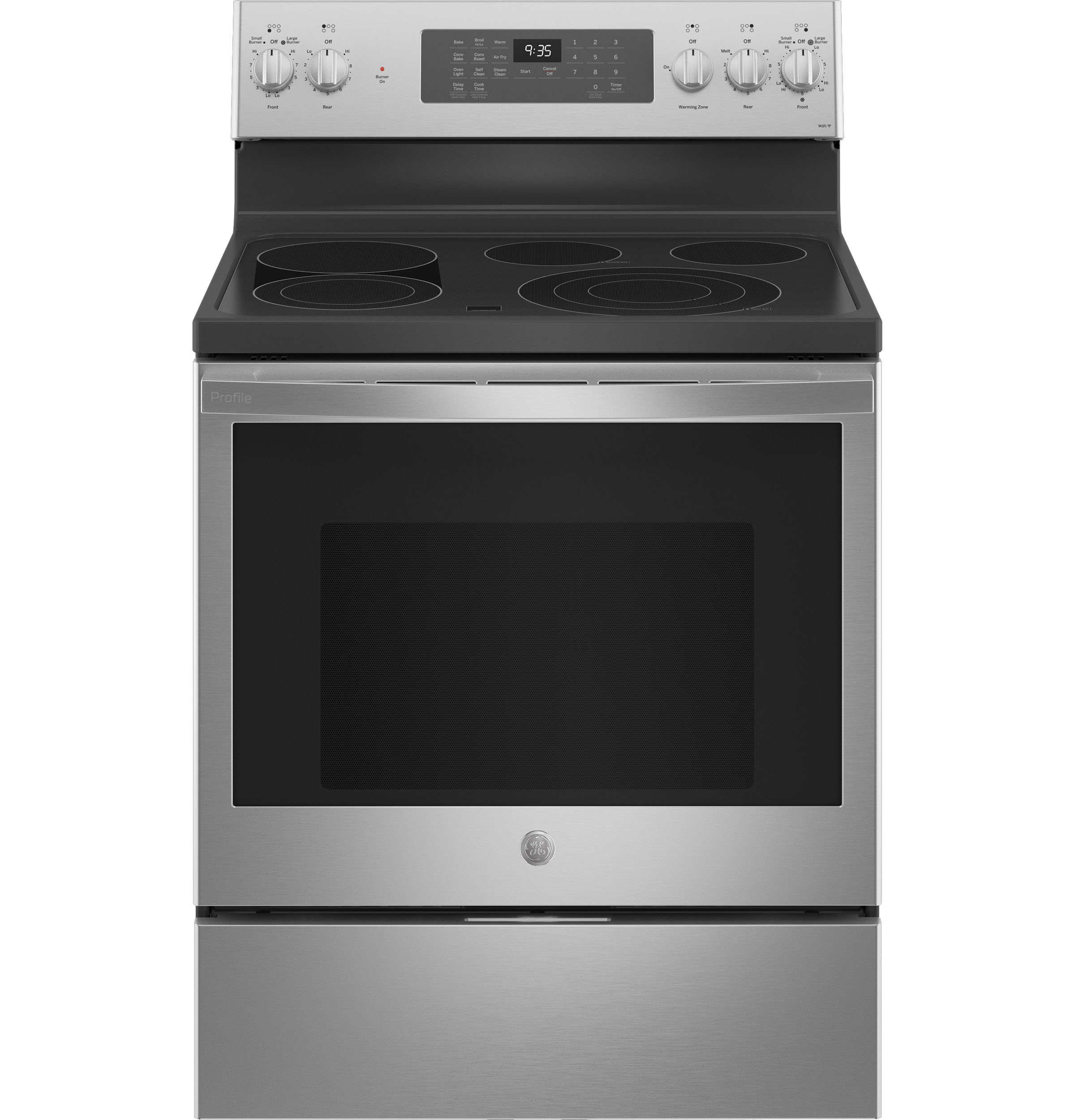 "GE Profile GE Profile™ 30"" Smart  Free-Standing Electric Convection Fingerprint Resistant Range with Air Fry"