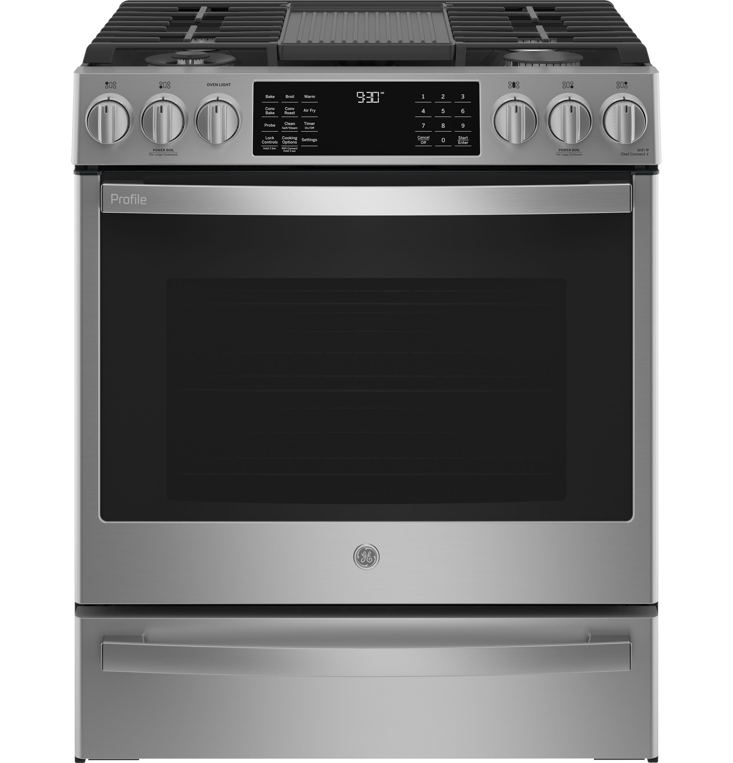 "GE Profile GE Profile™ 30"" Smart Slide-In Front-Control Gas Fingerprint Resistant Range with No Preheat Air Fry"