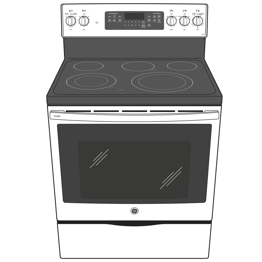 "Model: PB935BPTS | GE Profile GE Profile™ 30"" Smart  Free-Standing Electric Convection Range with Air Fry"