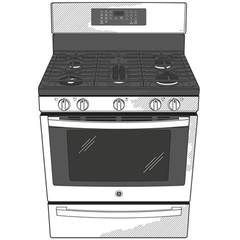 "Model: PGB935BPTS   GE Profile GE Profile™ 30"" Free-Standing Self Clean Gas Range with Air Fry"