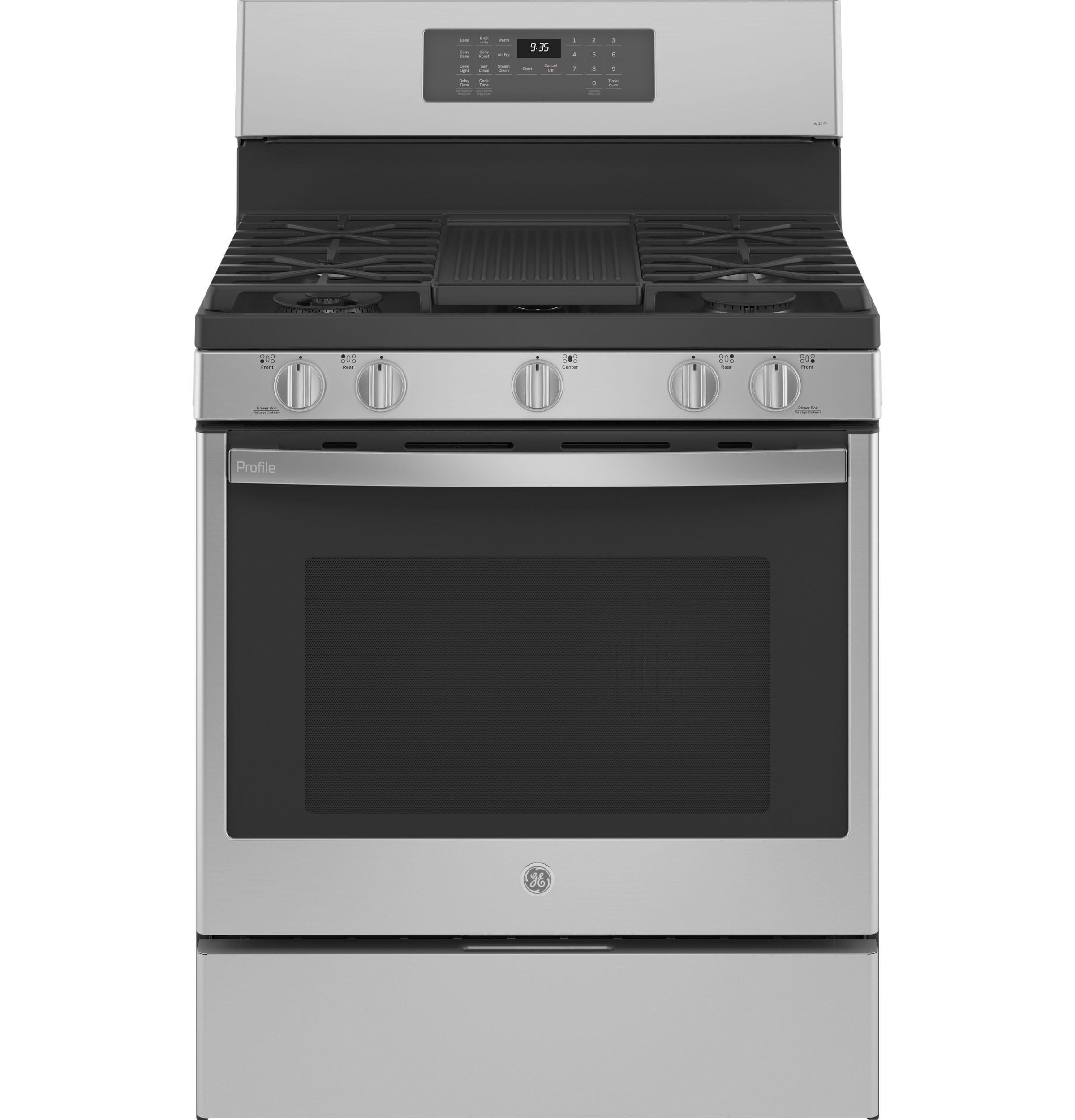 "GE Profile GE Profile™ 30"" Free-Standing Self Clean Gas Fingerprint Resistant Range with Air Fry"