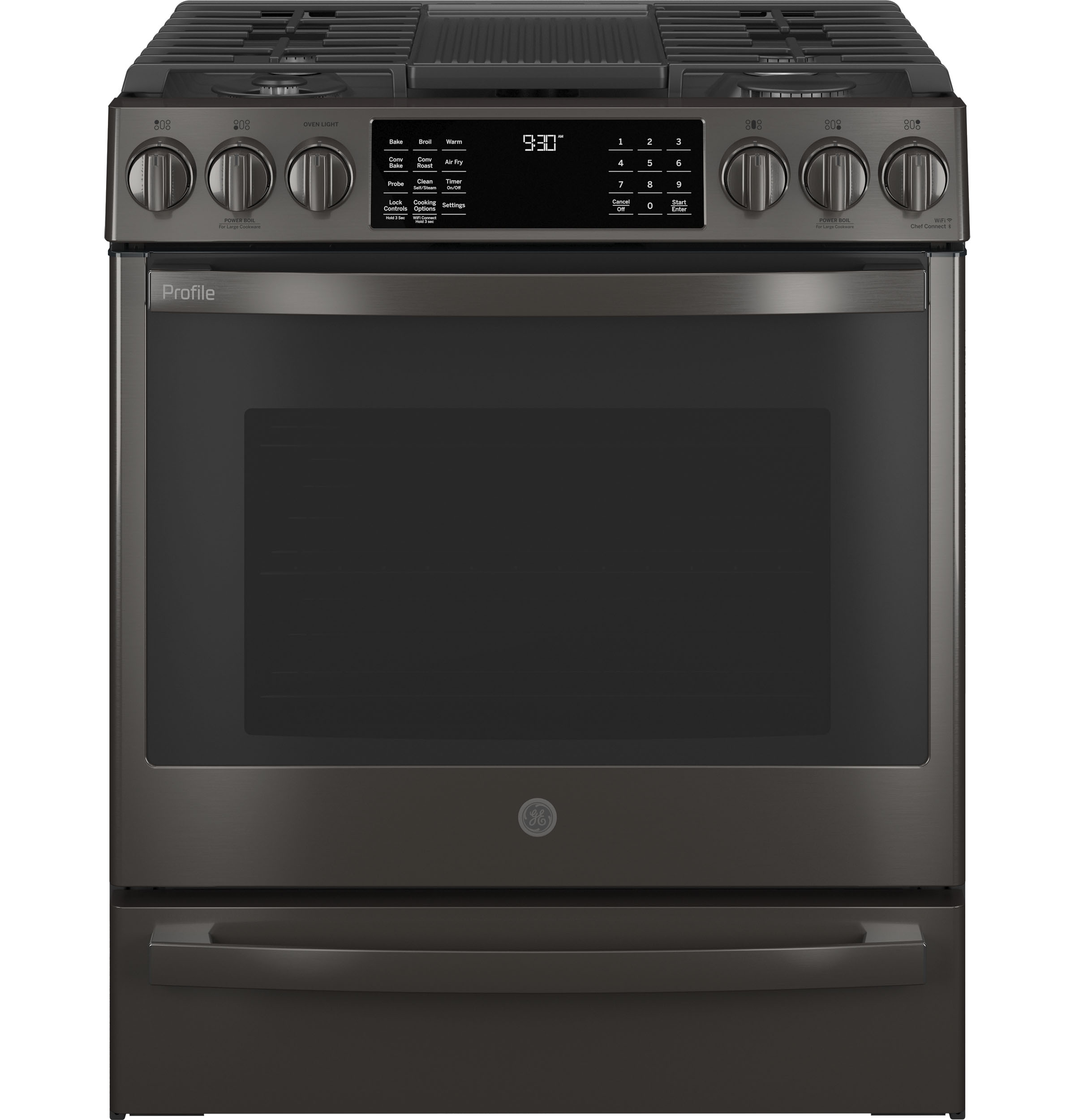 "GE Profile GE Profile™ 30"" Smart Slide-In Front-Control Gas Range with No Preheat Air Fry"