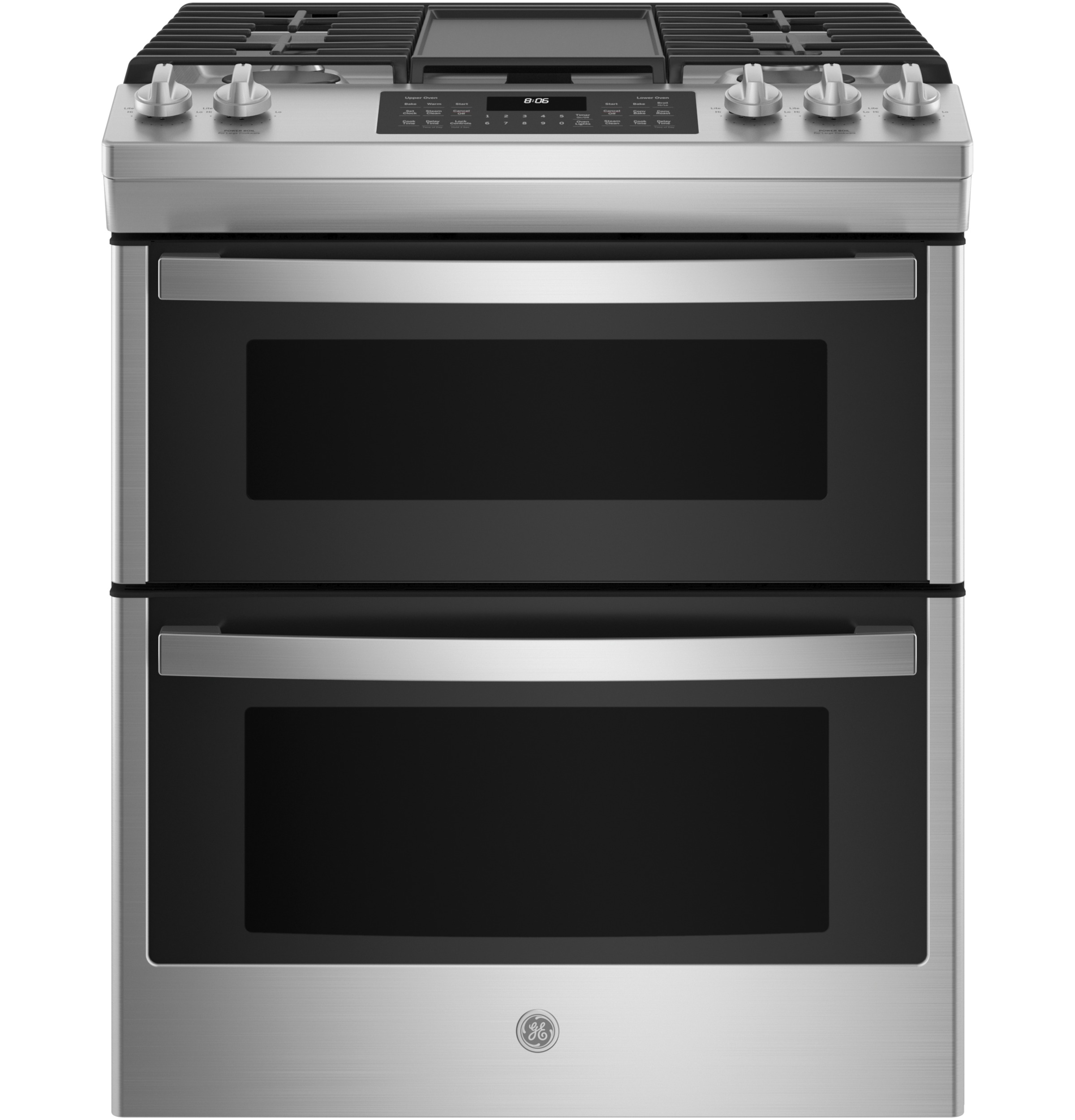 """GE GE® 30"""" Slide-In Front Control Gas Double Oven Range"""