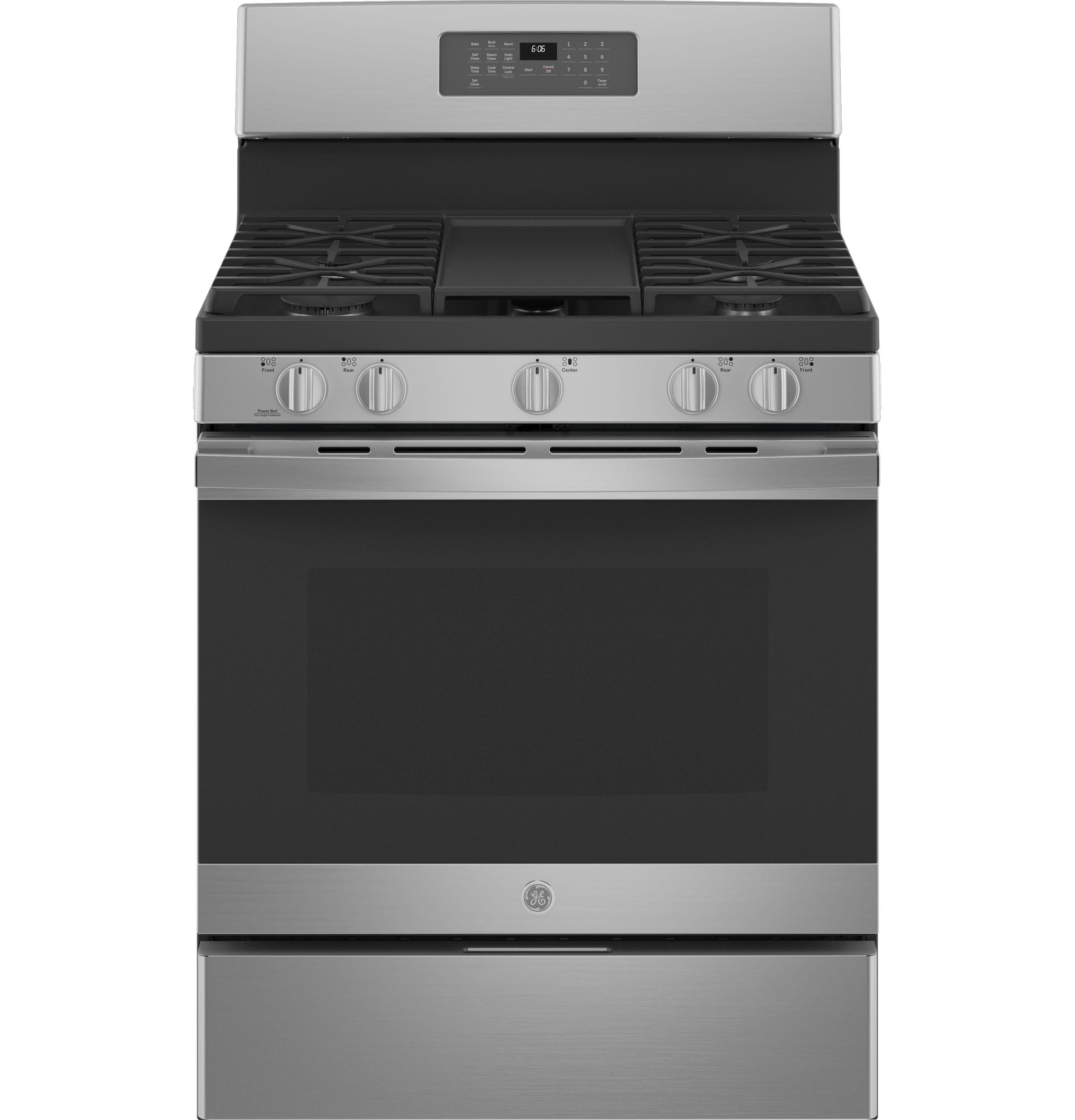 """GE GE® 30"""" Free-Standing Gas Fingerprint Resistant Range"""