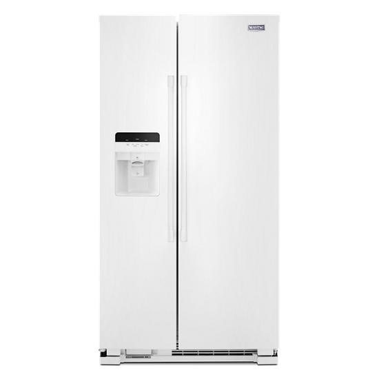 Model: MSS25C4MGW | Maytag 36-Inch Wide Side-by-Side Refrigerator with Exterior Ice and Water Dispenser - 25 Cu. Ft.