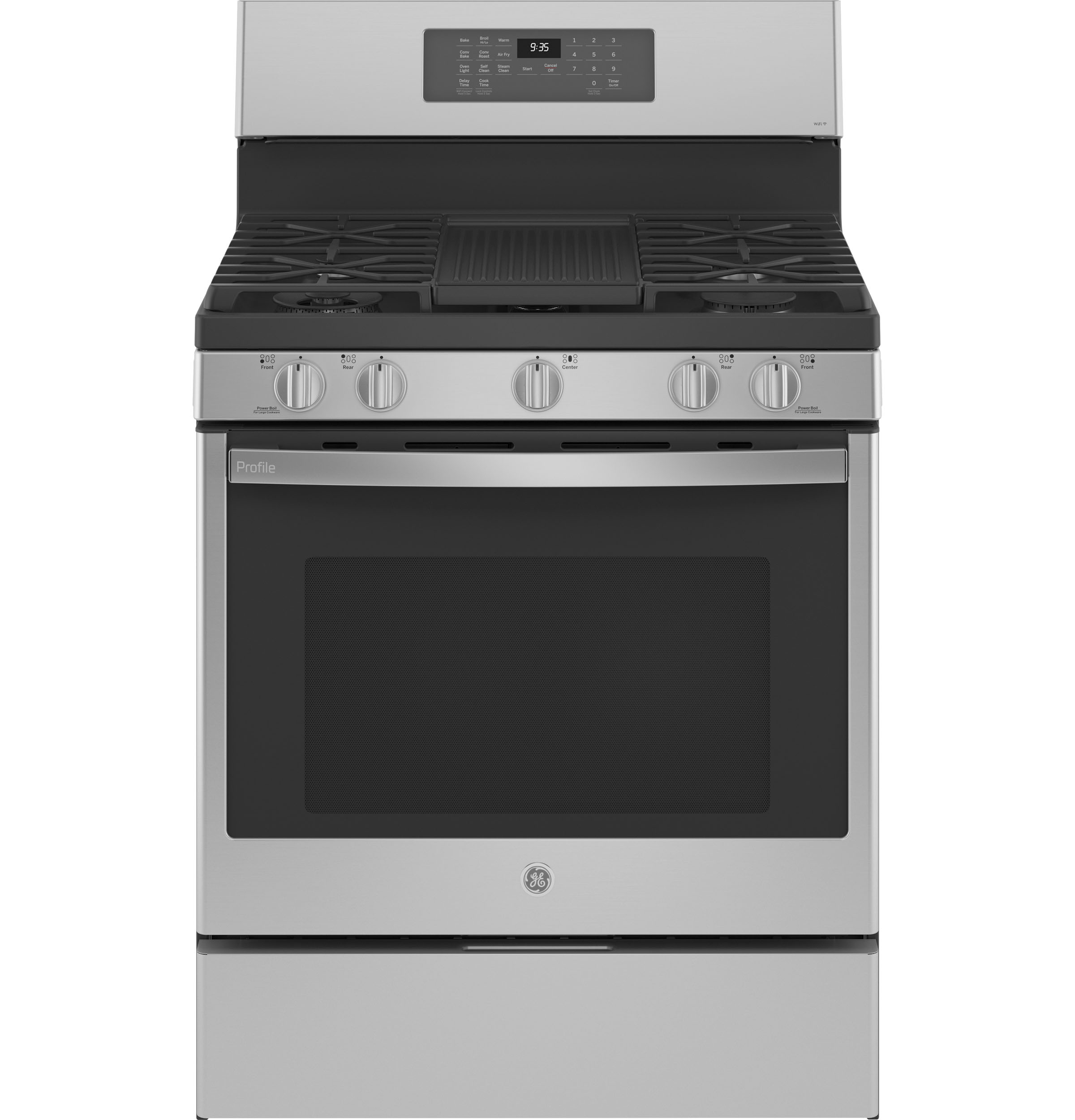 """Cafe GE Profile™ Smart 30"""" Free-Standing Self Clean Gas Fingerprint Resistant Range with No Preheat Air Fry"""