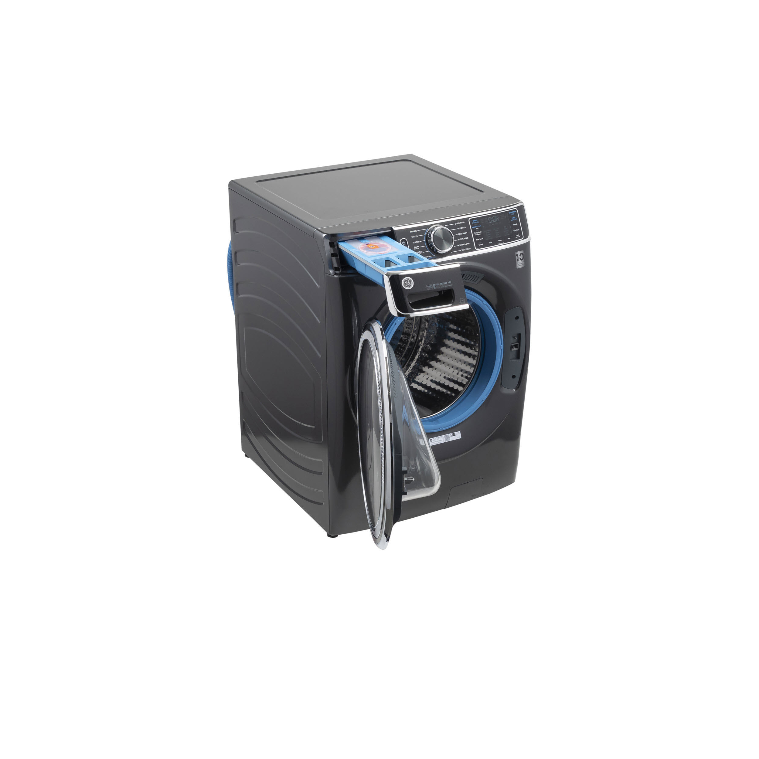 Model: GFW850SPNDG | GE GE® 5.0 cu. ft. Capacity Smart Front Load ENERGY STAR® Steam Washer with SmartDispense™ UltraFresh Vent System with OdorBlock™ and Sanitize + Allergen