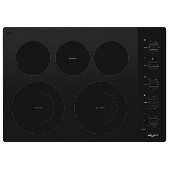 Model: WCE77US0HB | Whirlpool 30-inch Electric Ceramic Glass Cooktop with Two Dual Radiant Elements