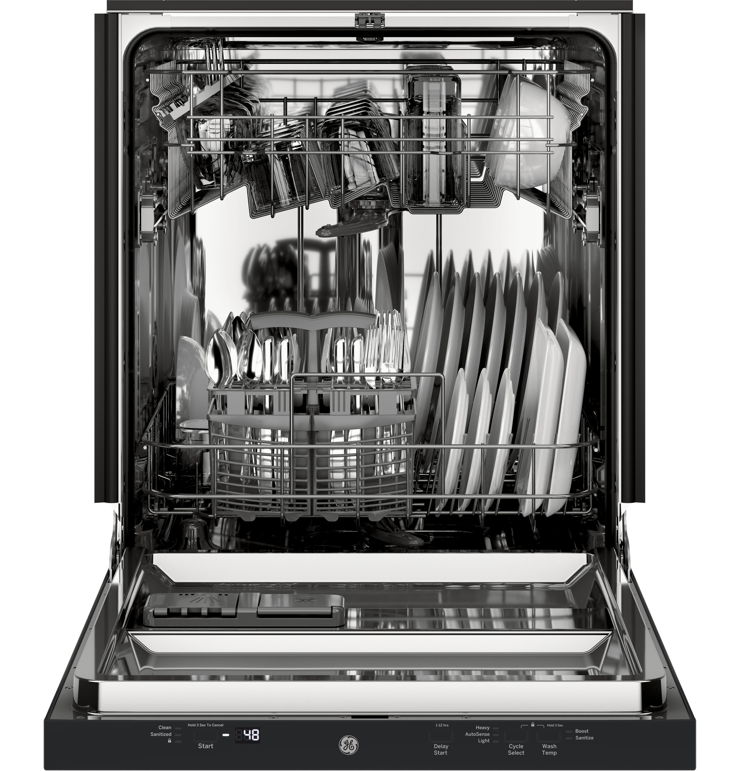 Model: GDT226SGLBB | GE GE® ADA Compliant Stainless Steel Interior Dishwasher with Sanitize Cycle
