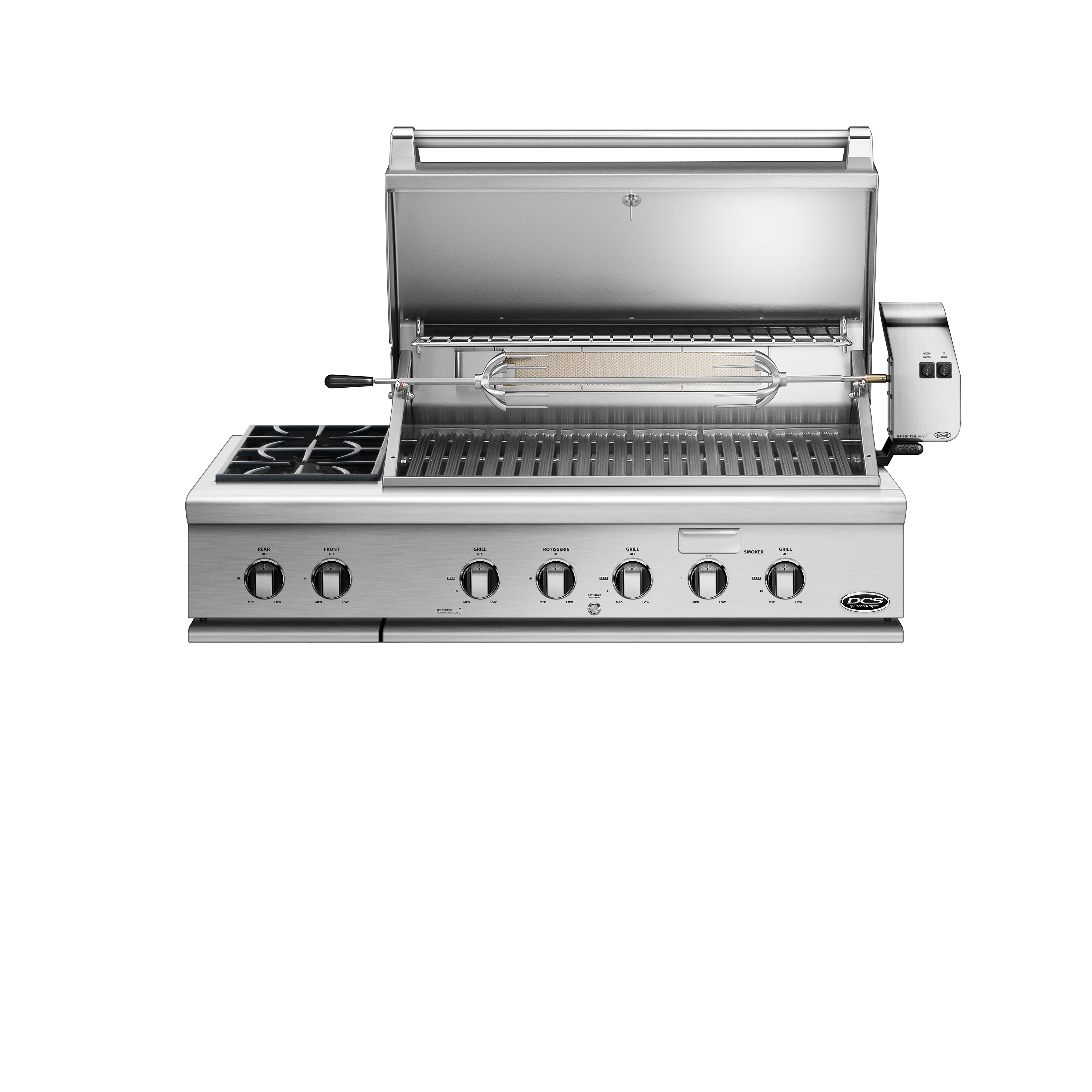 "Model: BH1-48RS-N | DCS 48"" Series 7 Grill with Integrated Side Burners, Natural Gas"