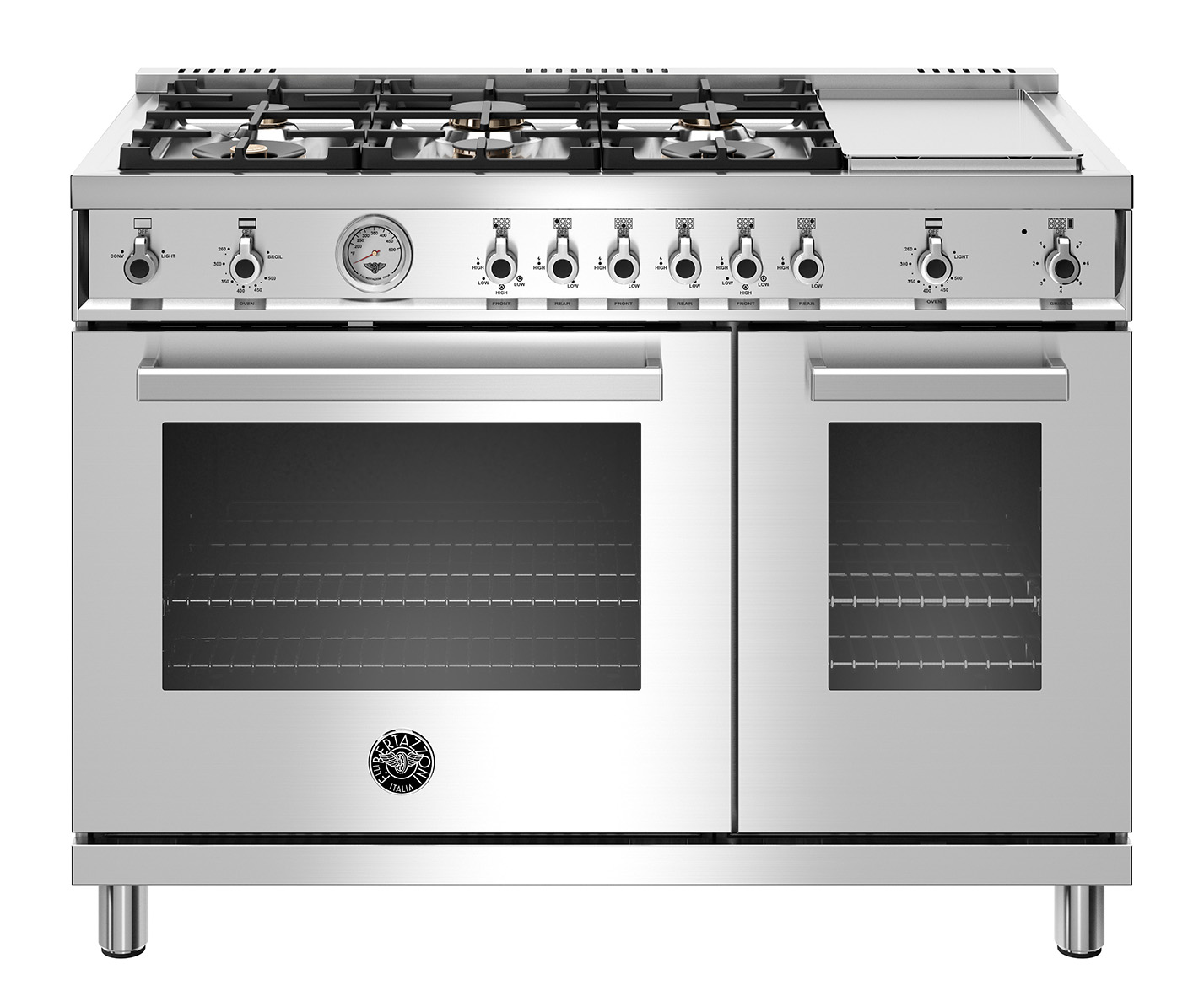 "Model: PROF486GGASXTLP | Bertazzoni 48"" Professional Series range - Gas Oven - 6 brass burners + griddle - LP version"