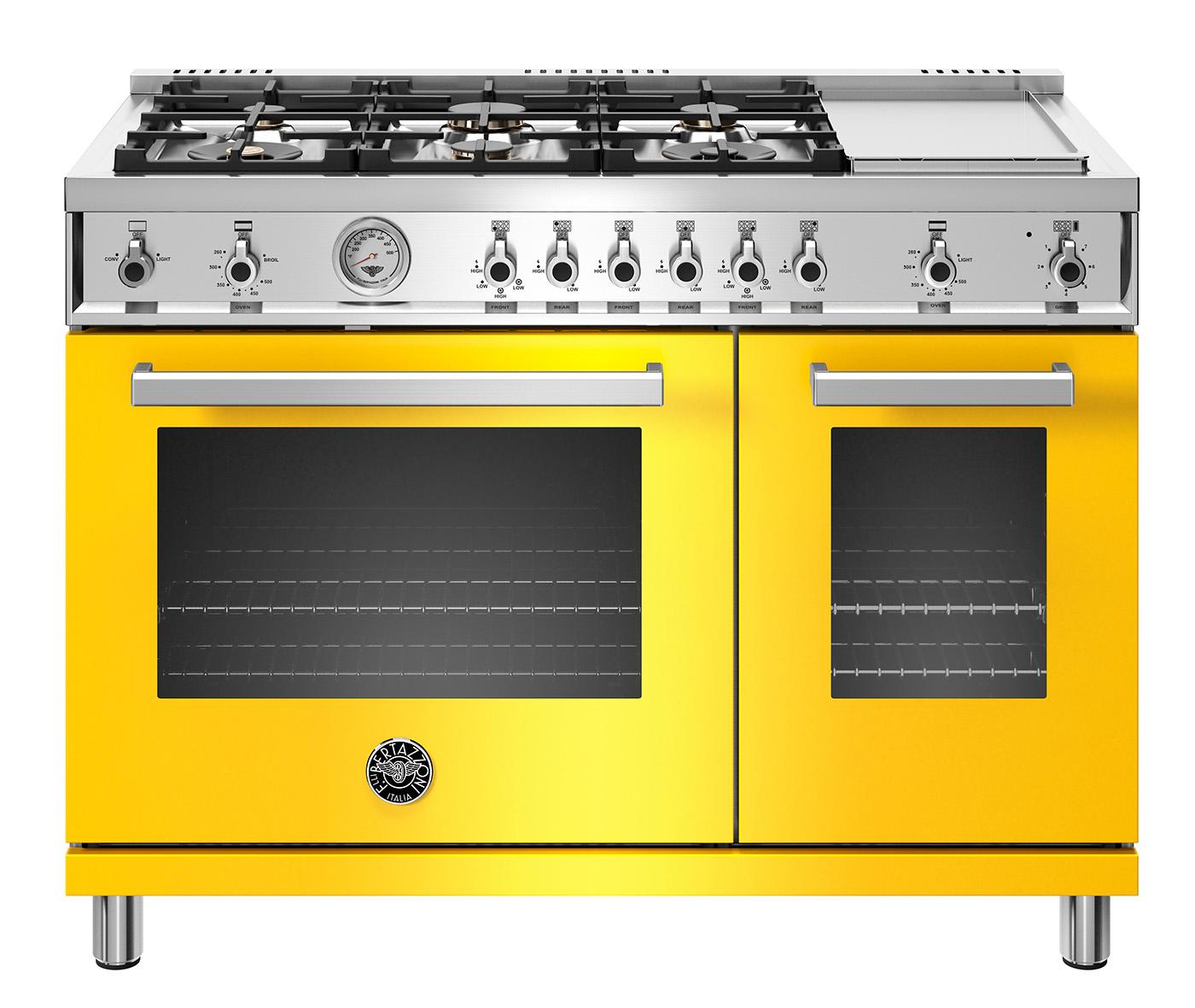 "Model: PROF486GGASGIT   Bertazzoni 48"" Professional Series range - Gas Oven - 6 brass burners + griddle"