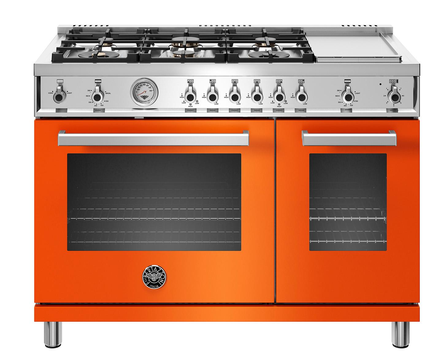 "Model: PROF486GGASART | Bertazzoni 48"" Professional Series range - Gas Oven - 6 brass burners + griddle"