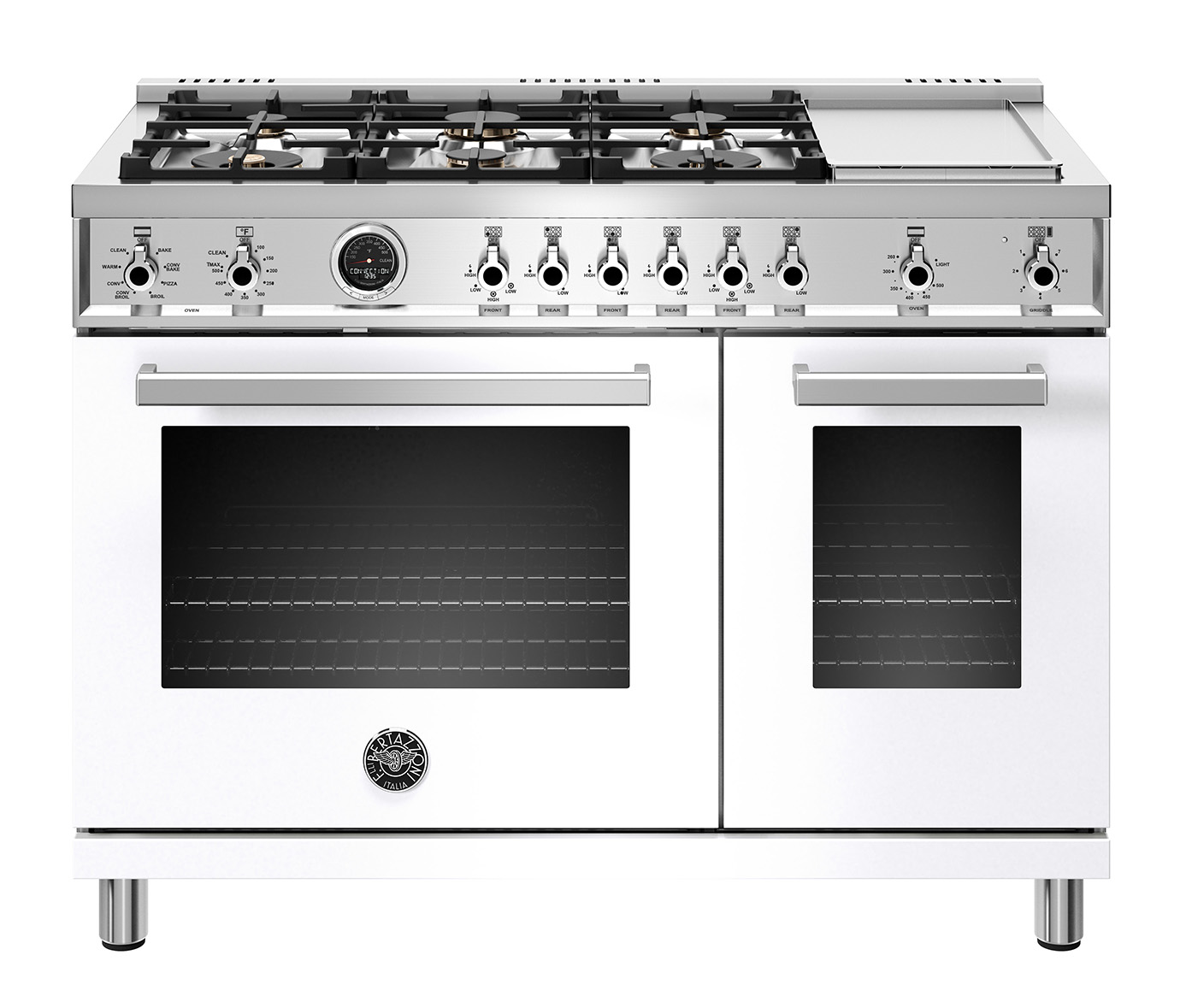 "Model: PROF486GDFSBIT | Bertazzoni 48"" Professional Series range - Electric  oven - 6 brass burners + griddle"