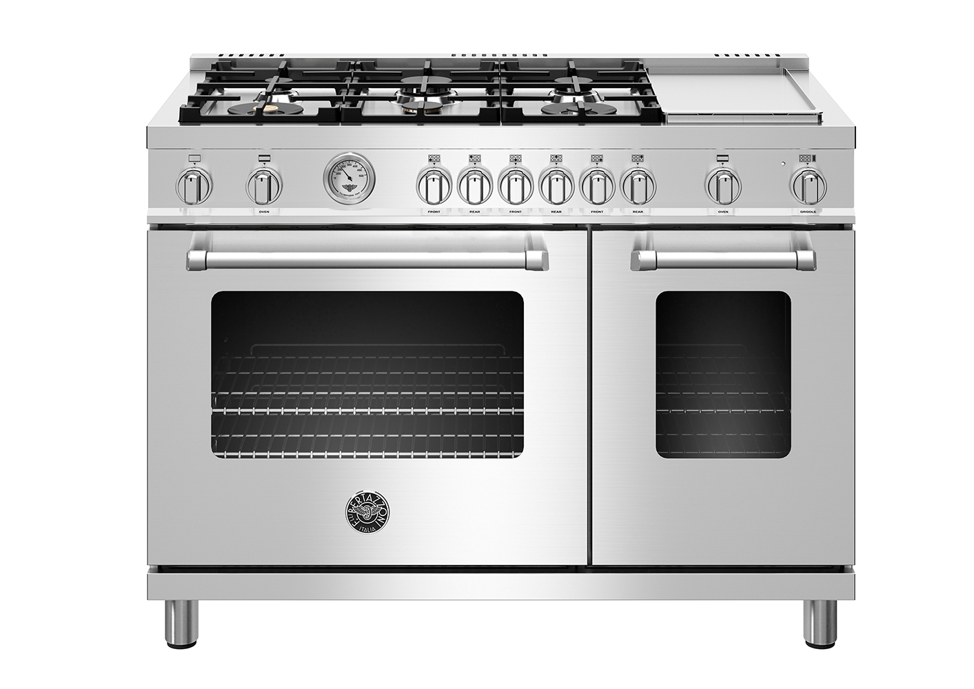 "Model: MAST486GGASXELP | Bertazzoni 48"" Master Series range - Gas Oven - 6 aluminum burners + griddle - LP version"