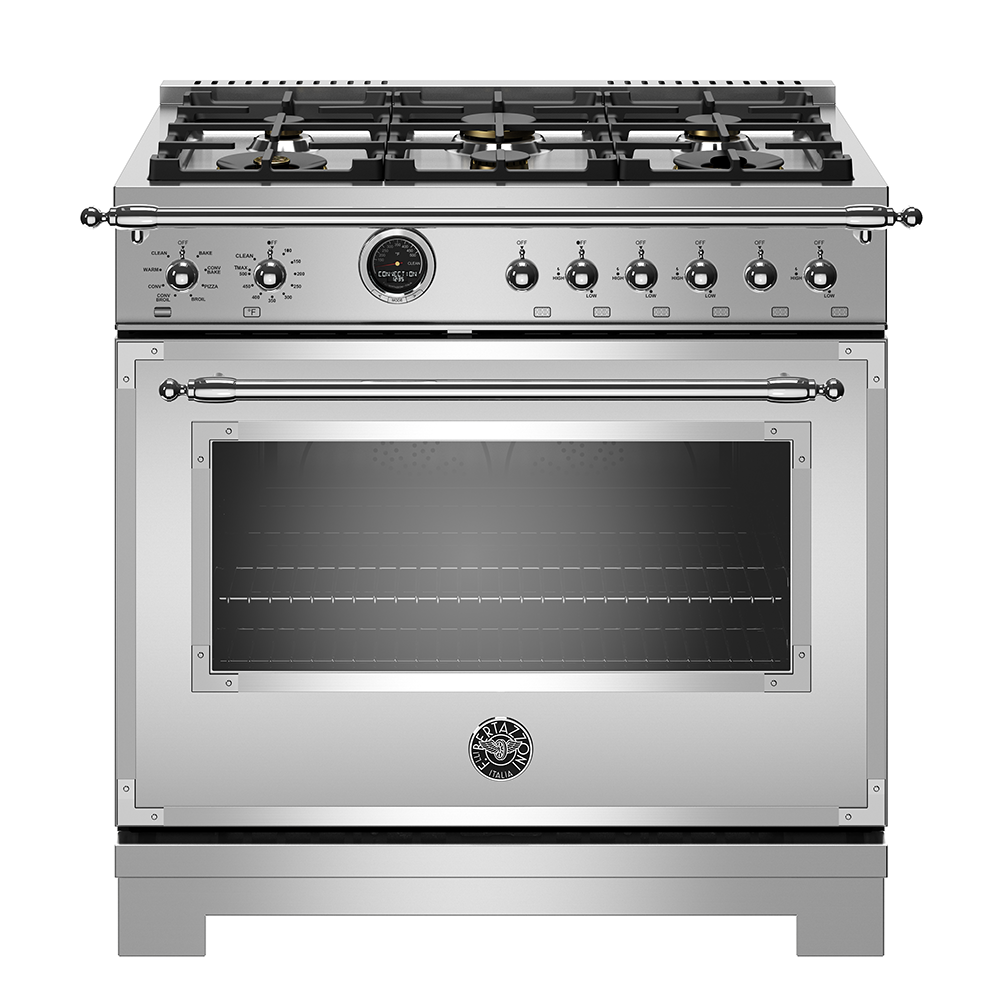 "Bertazzoni 36"" Hertitage Series range - Electric self clean oven - 6 brass burners"