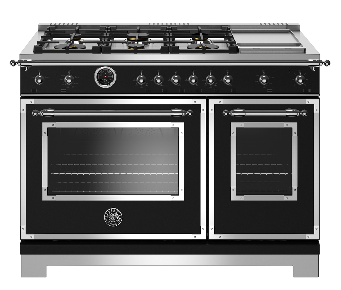 "Model: HERT486DFSNET   Bertazzoni 48"" Hertitage Series range - Electric self clean oven - 6 brass burners + griddle"