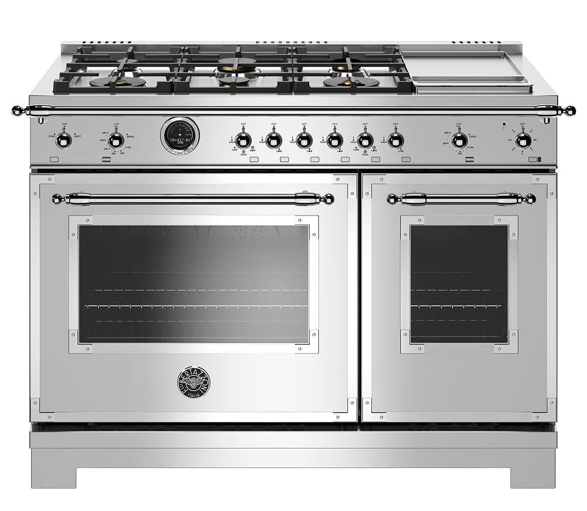 "Model: HERT486DFSXT | Bertazzoni 48"" Hertitage Series range - Electric self clean oven - 6 brass burners + griddle"