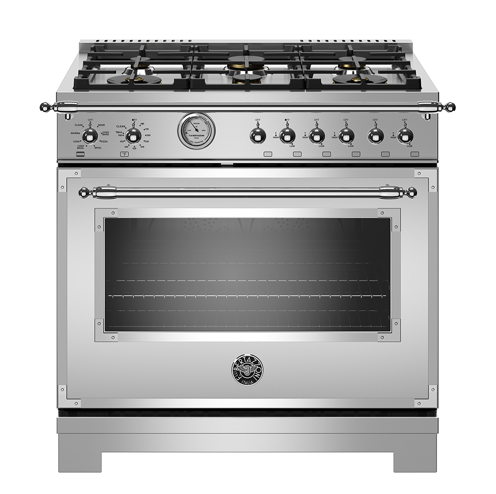 "Model: HERT366GASXT | Bertazzoni 36"" Heritage Series range - Gas Oven - 6 brass burners"