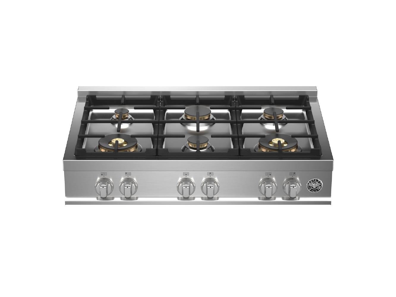 "Bertazzoni 36"" Gas Rangetop 6 Brass Burners"