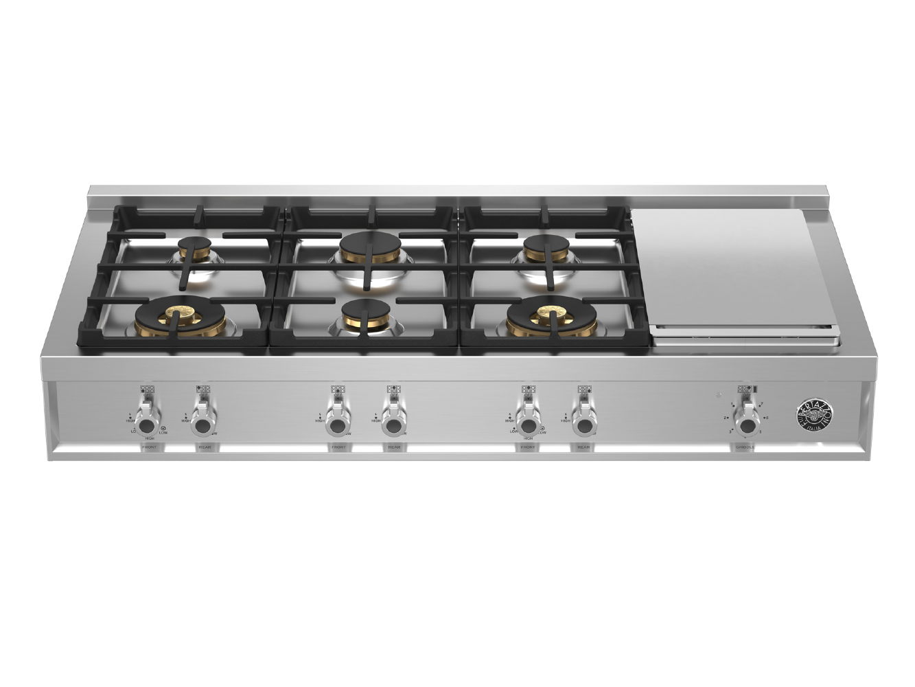 "Bertazzoni 48"" Gas Rangetop 6 Brass Burners + Griddle"
