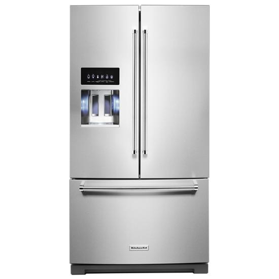 Model: KRFF507HPS | KitchenAid 26.8 cu. ft. 36-Inch Width Standard Depth French Door Refrigerator with Exterior Ice and Water and PrintShield™ finish