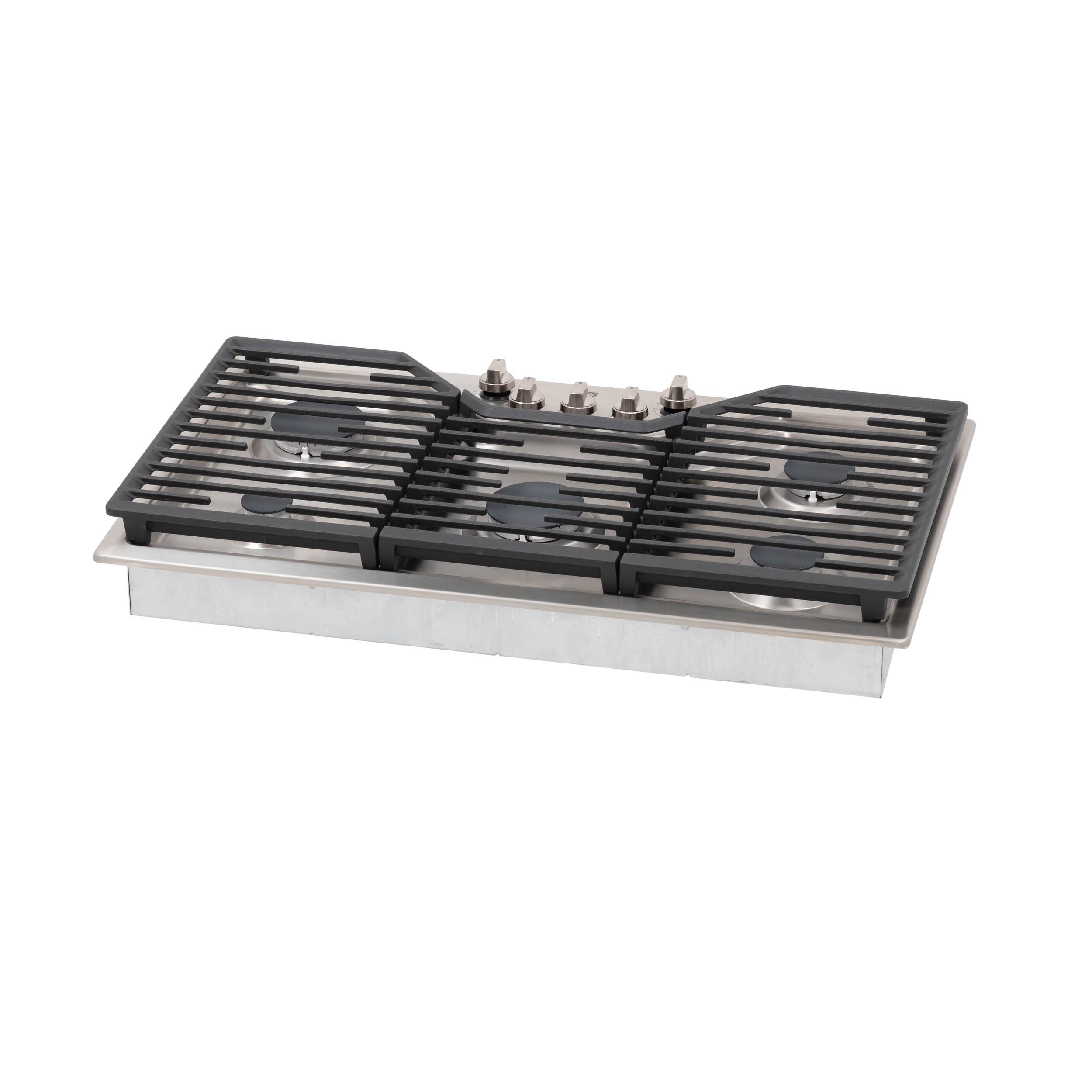 "Model: JGP5036SLSS | GE GE® 36"" Built-In Gas Cooktop with 5 Burners and Dishwasher Safe Grates"