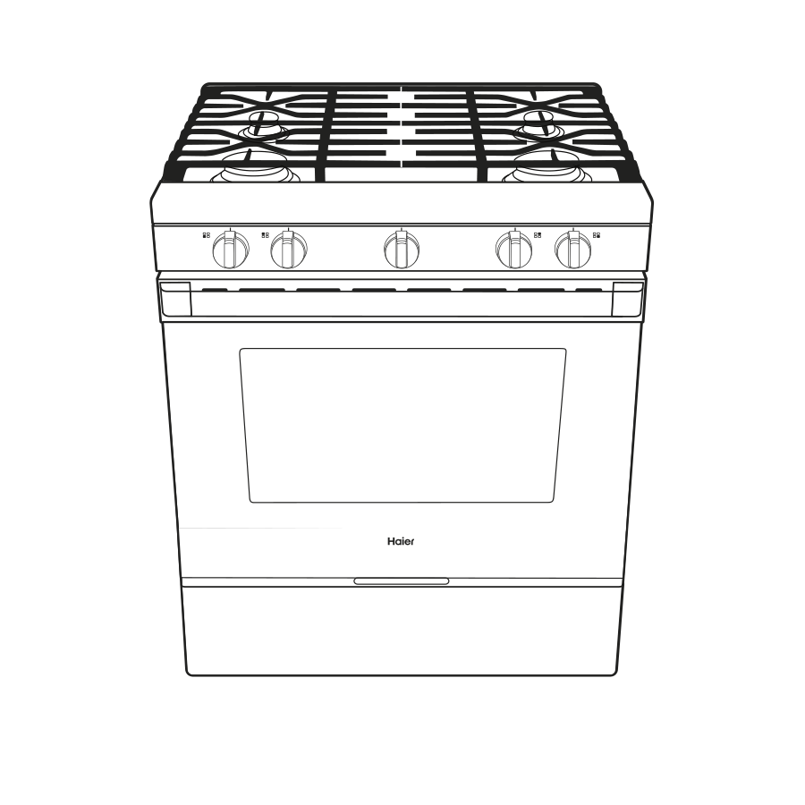 "Model: QGSS740BNTS | Haier 30"" Smart Slide-In Gas Range with Convection"