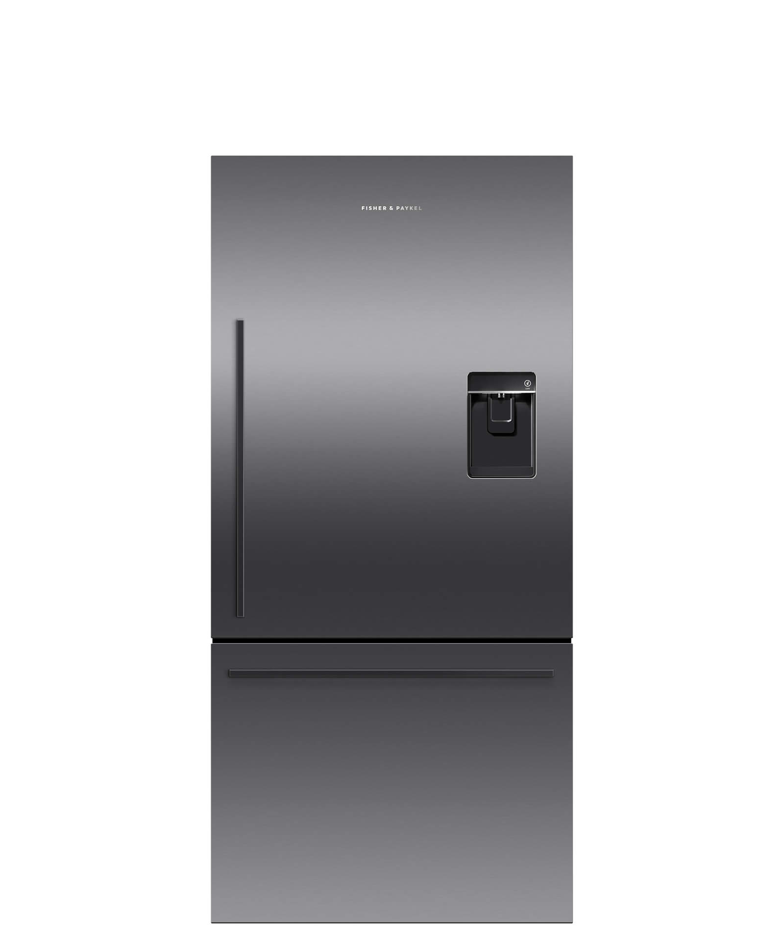 Fisher and Paykel Black Stainless Steel Counter Depth Refrigerator 17 cu ft, Ice & Water