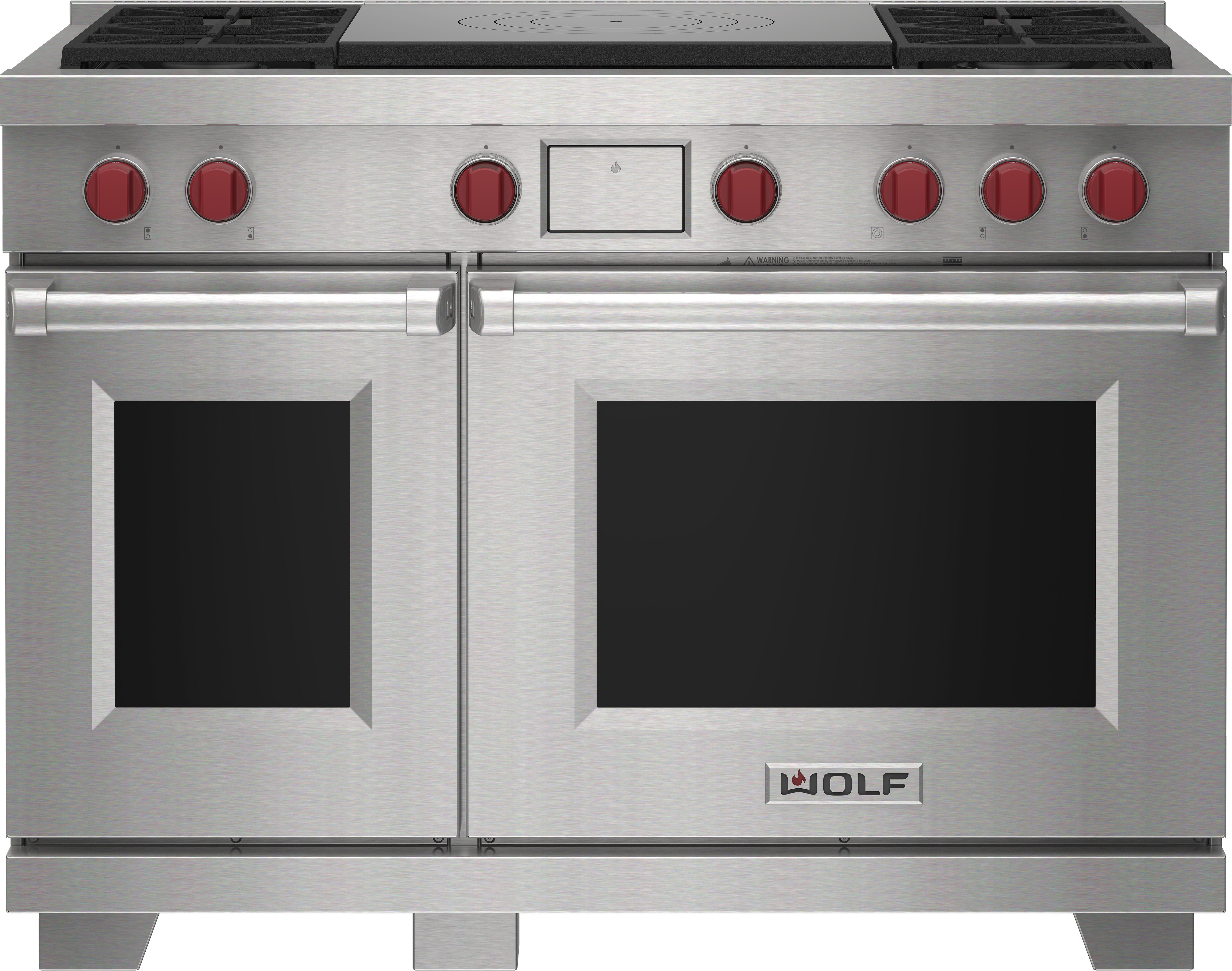 """Wolf 48"""" Dual Fuel Range - 4 Burners and French Top"""