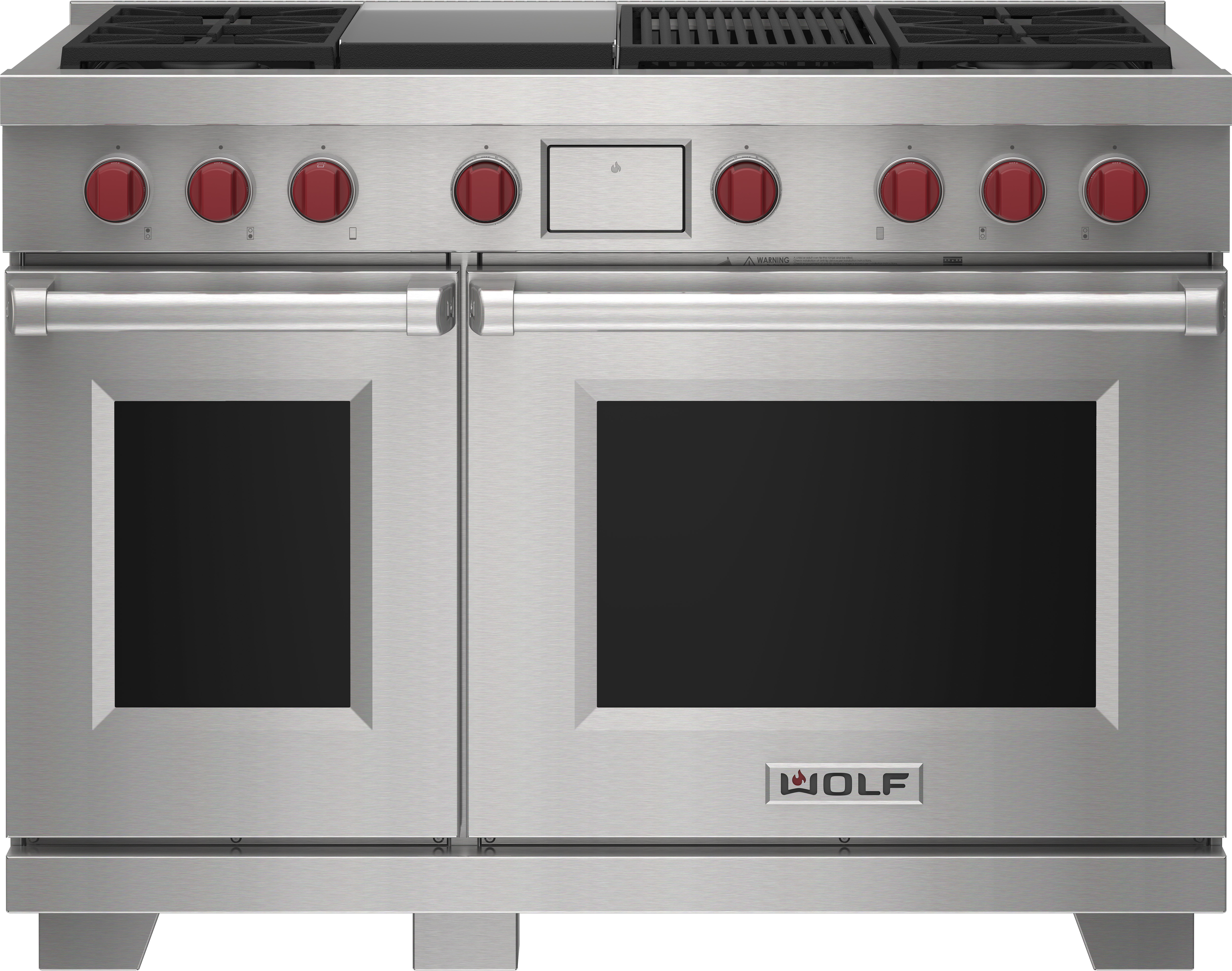 """Wolf 48"""" Dual Fuel Range - 4 Burners, Infrared Charbroiler and Infrared Griddle"""