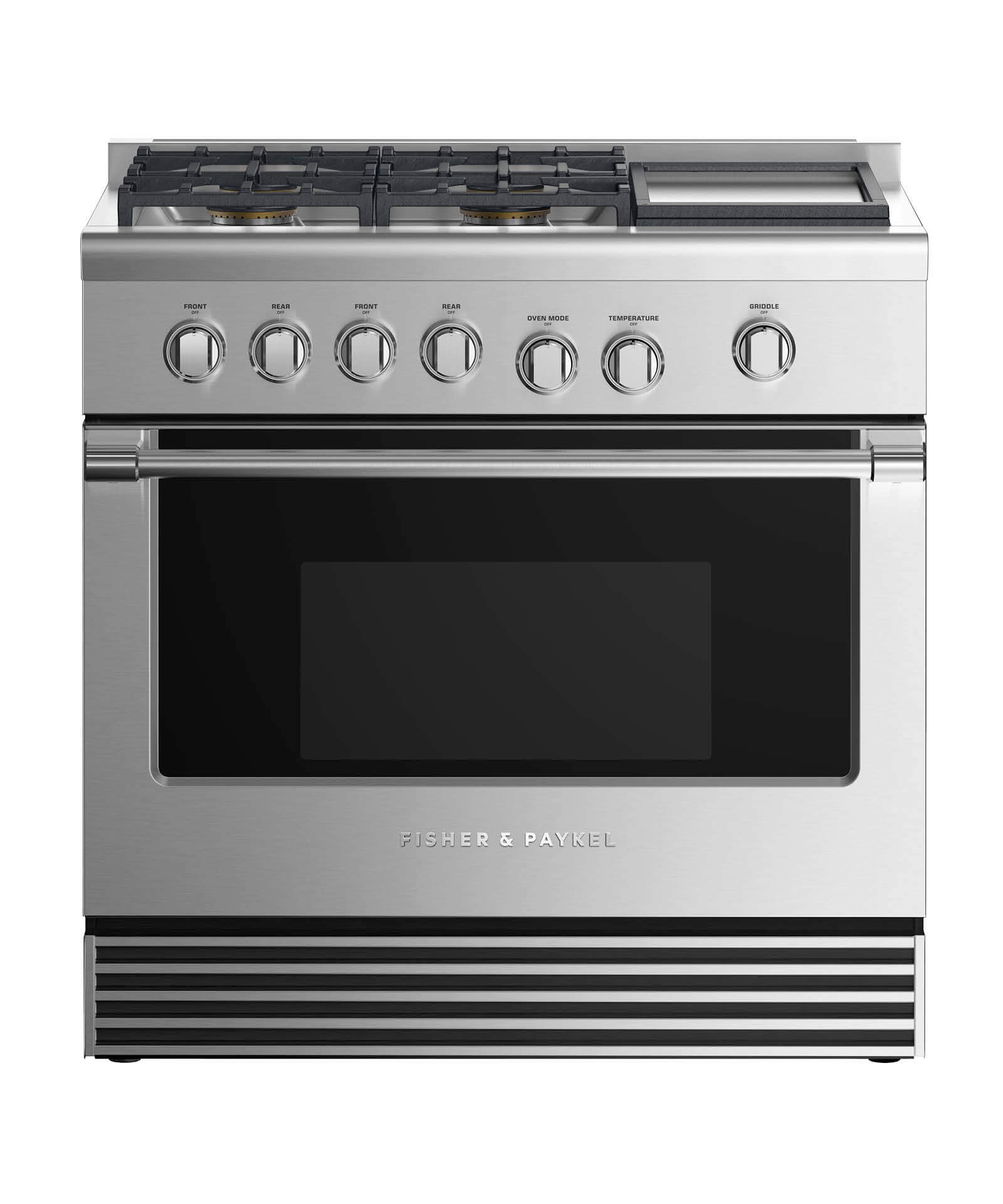 "Fisher and Paykel Dual Fuel Range 36"", 4 Burners with Griddle"
