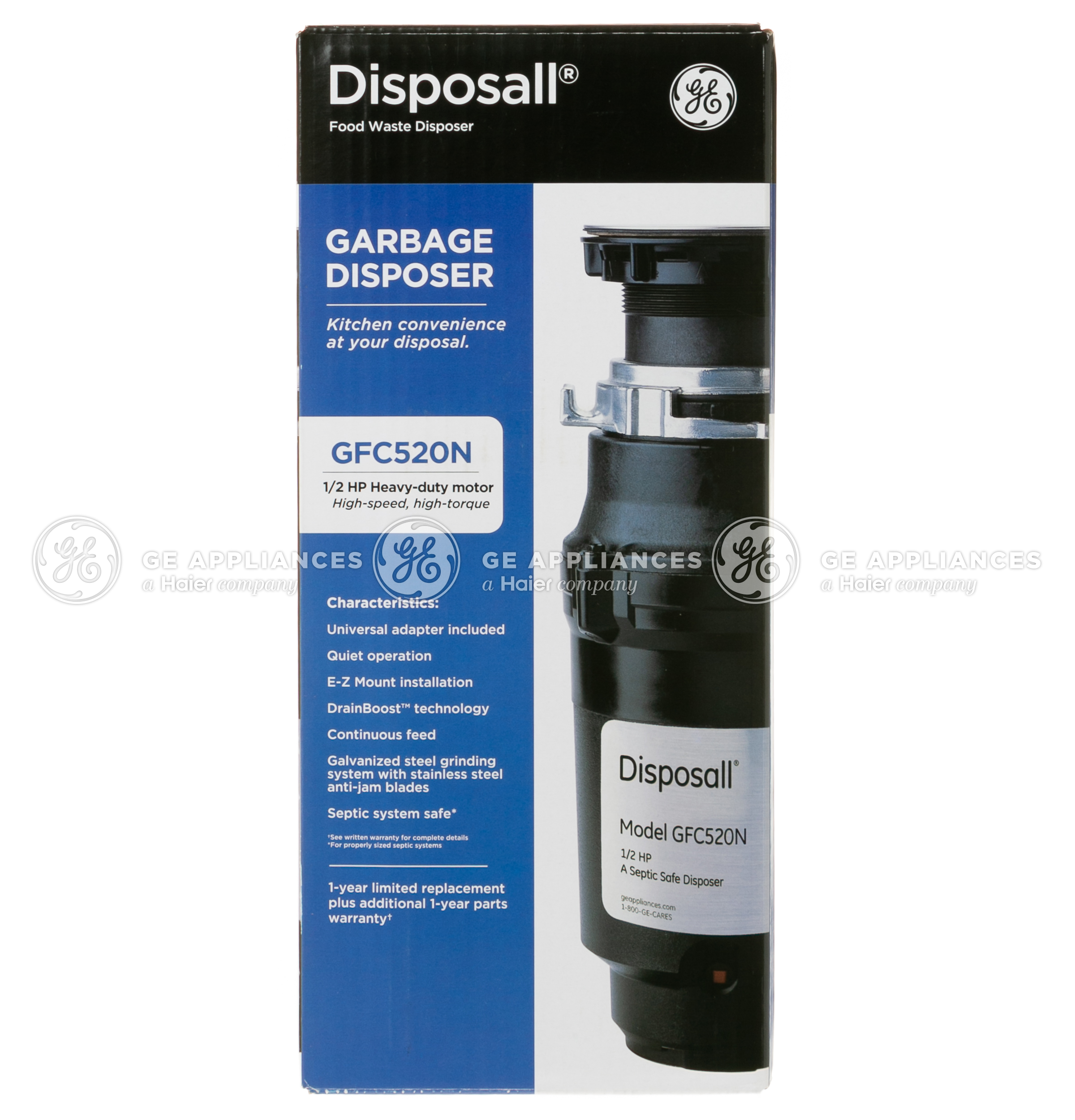 Model: GFC520N | GE GE® 1/2 HP Continuous Feed Garbage Disposer - Non-Corded