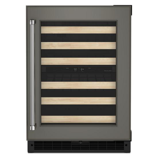 "KitchenAid 24"" Panel-Ready Undercounter Wine Cellar with Wood-Front Racks"
