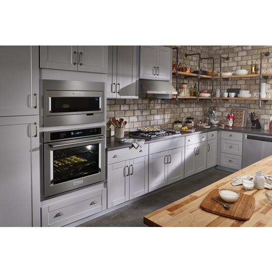 Unbranded Built-In Low Profile Microwave Standard Trim Kit with Pocket Handle, Stainless Steel