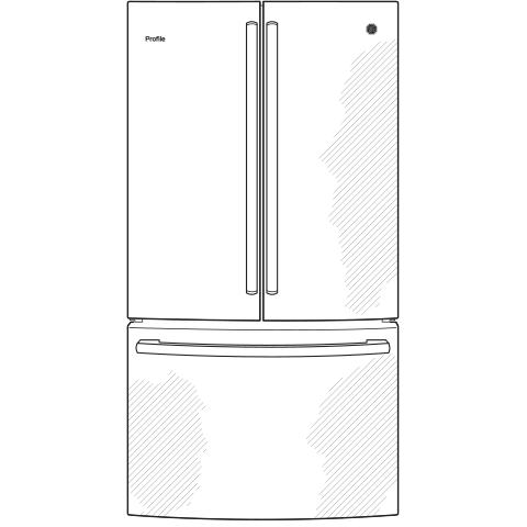 Model: PWE23KMKES   GE Profile GE Profile™ Series ENERGY STAR® 23.1 Cu. Ft. Counter-Depth French-Door Refrigerator
