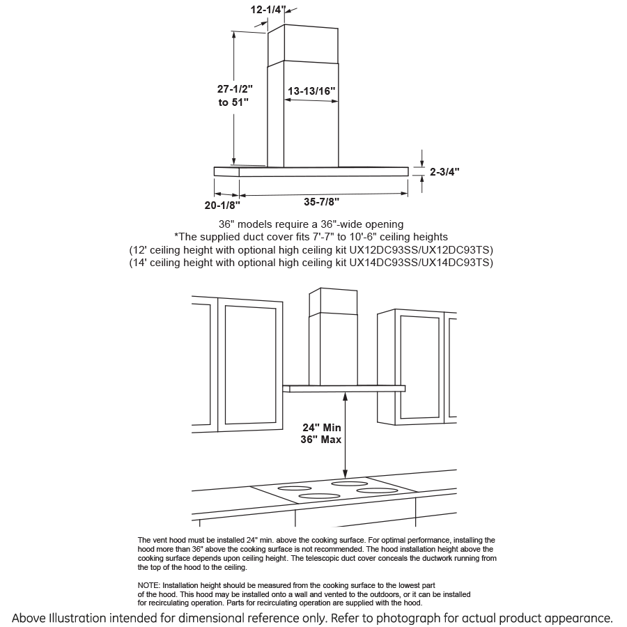 "Model: UVW9361SLSS | GE Profile 36"" Smart Designer Wall Mount Hood w/ Perimeter Venting"