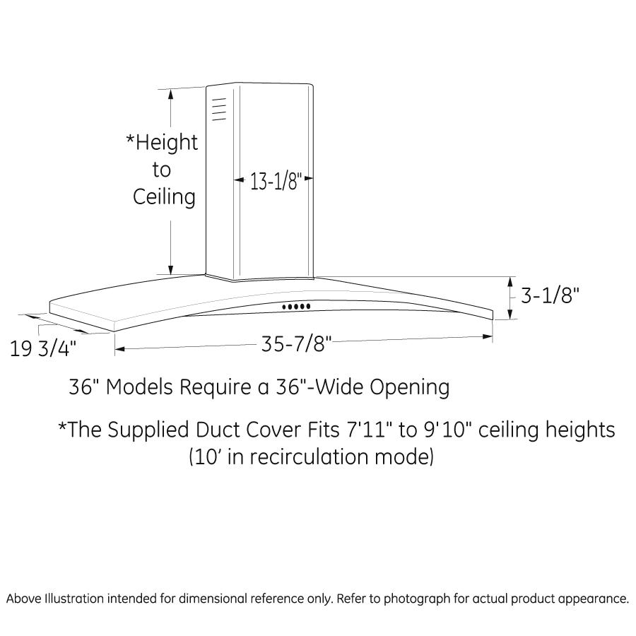 "Model: PV976NSS   GE Profile GE Profile™ 36"" Wall-Mount Chimney Hood"
