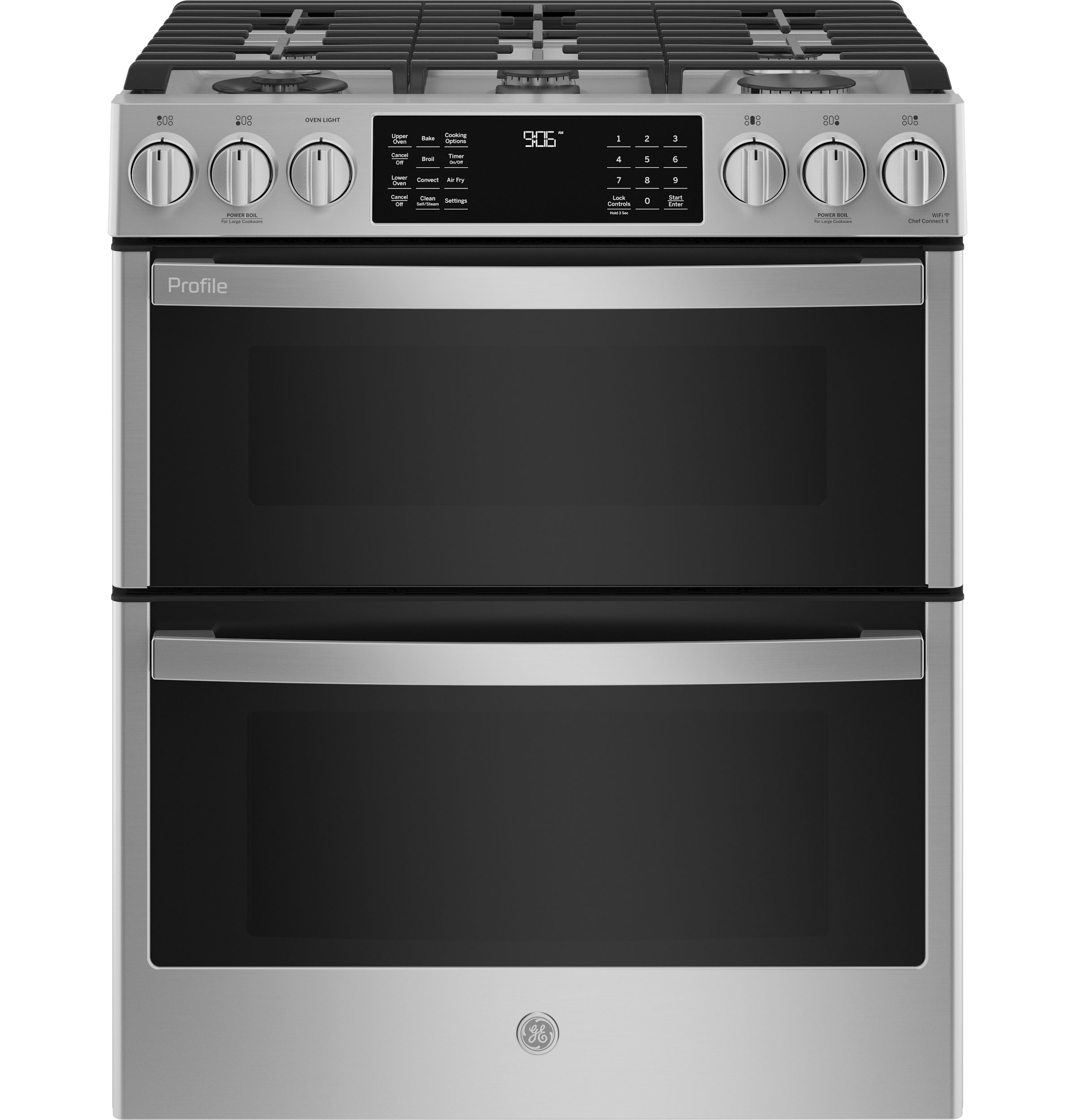 "GE Profile GE Profile™ 30"" Smart Slide-In Front-Control Gas Double Oven Convection Fingerprint Resistant Range"