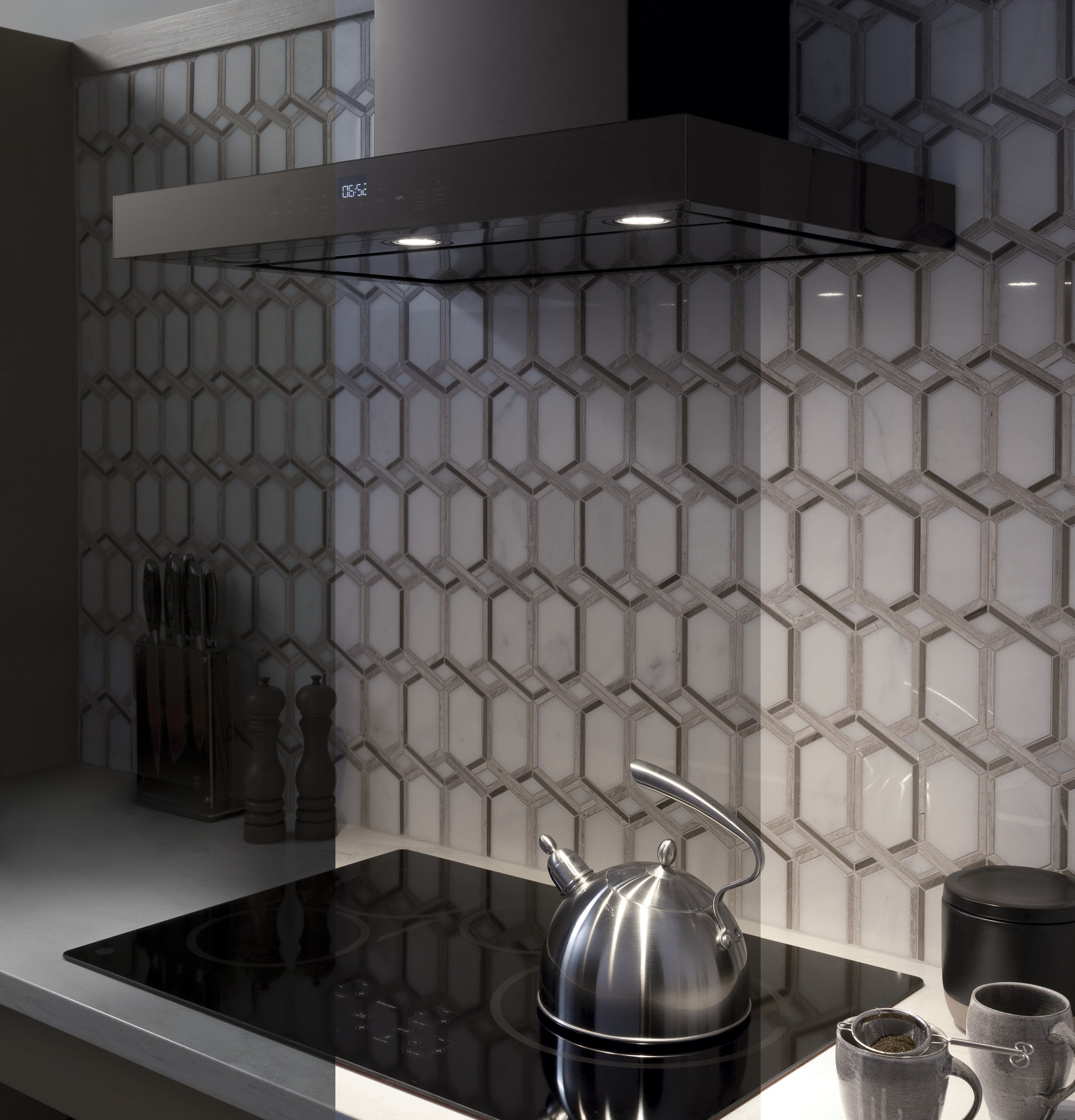 "Model: UVW9301BLTS | GE Profile 30"" Smart Designer Wall Mount Hood w/ Perimeter Venting"