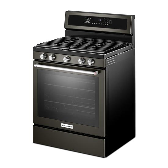 Model: KFGG500EBS | KitchenAid 30-Inch 5-Burner Gas Convection Range